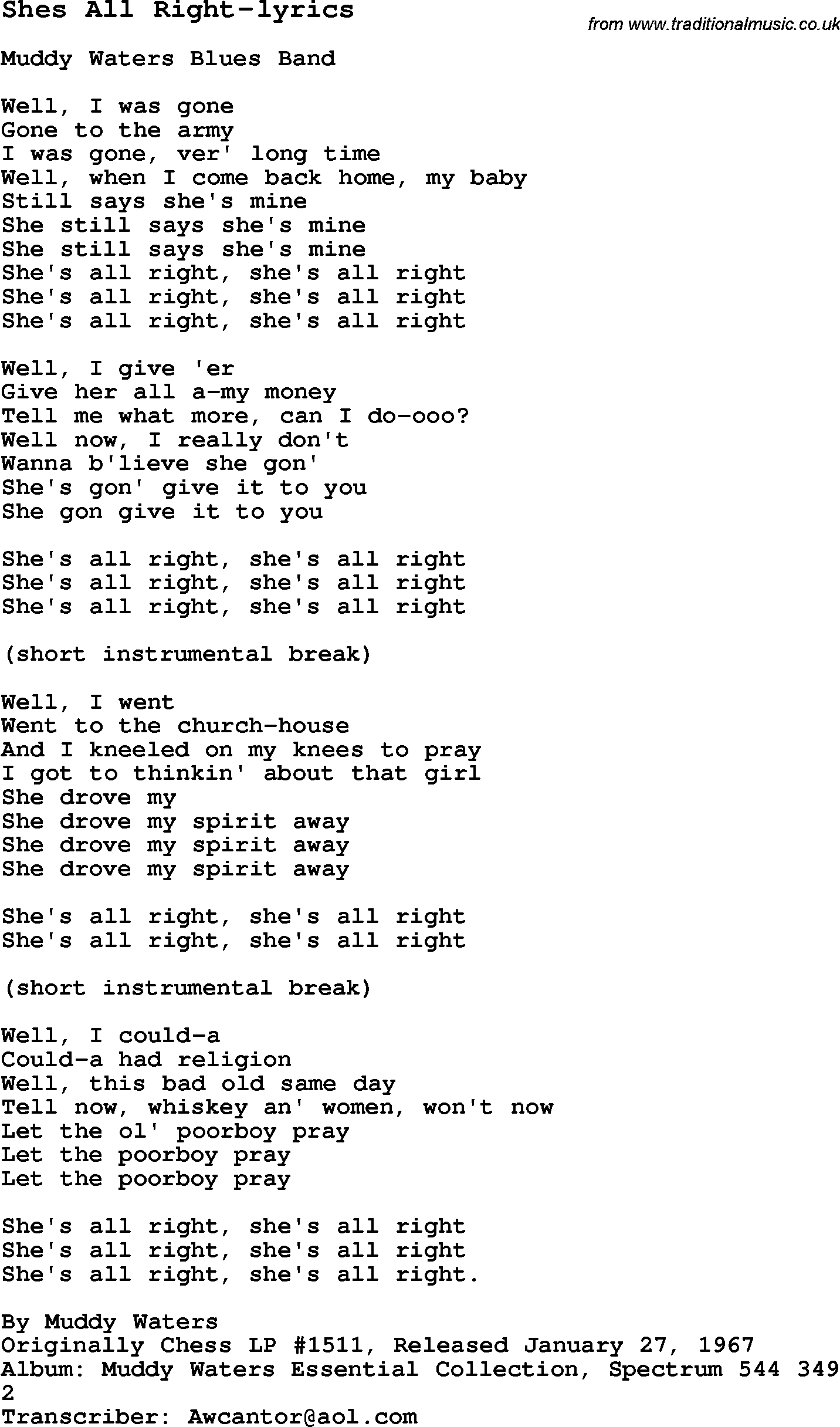 Blues Guitar lesson for Shes All Right-lyrics, with Chords, Tabs, and Lyrics