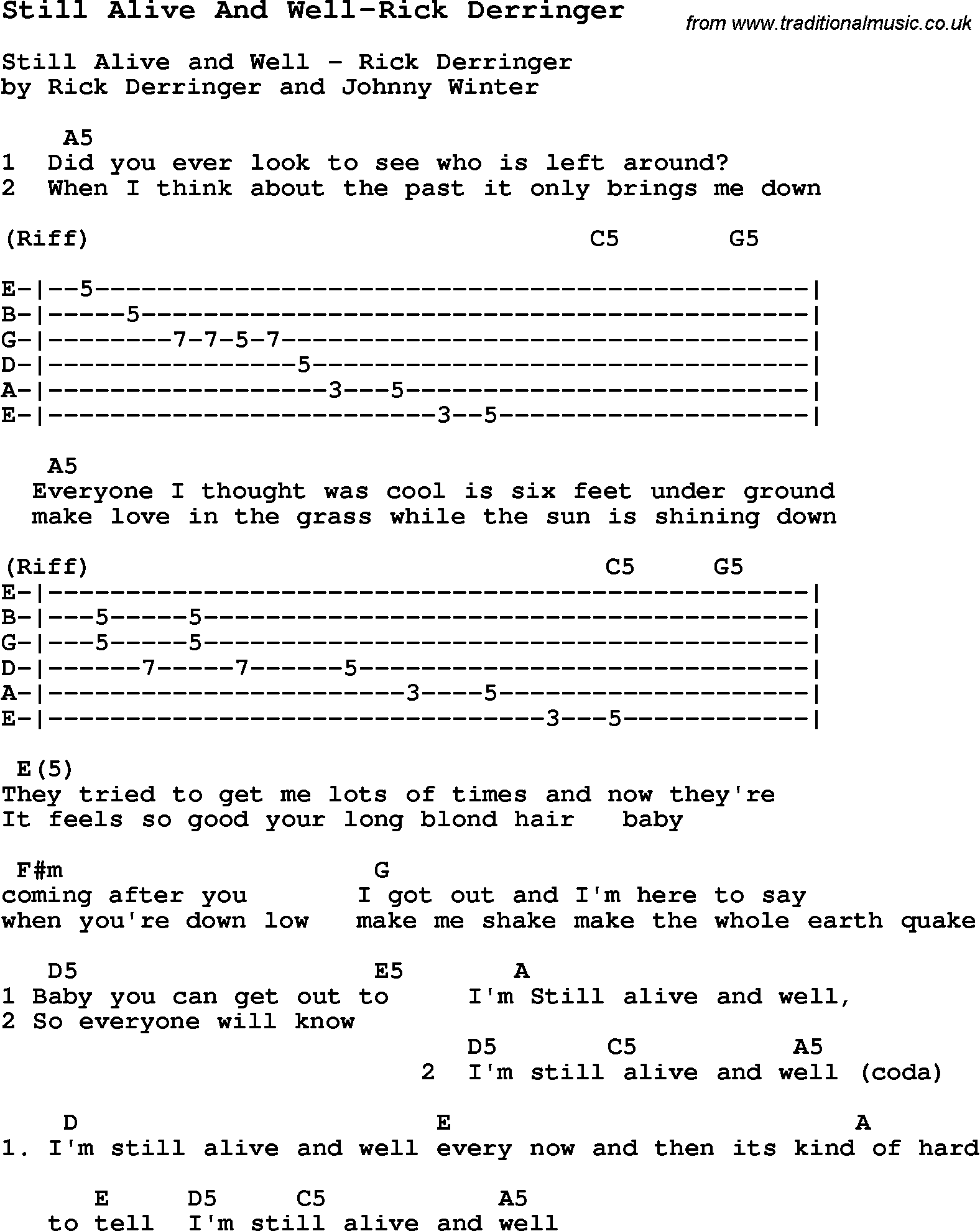 Blues Guitar Lesson For Still Alive And Well Rick Derringer With