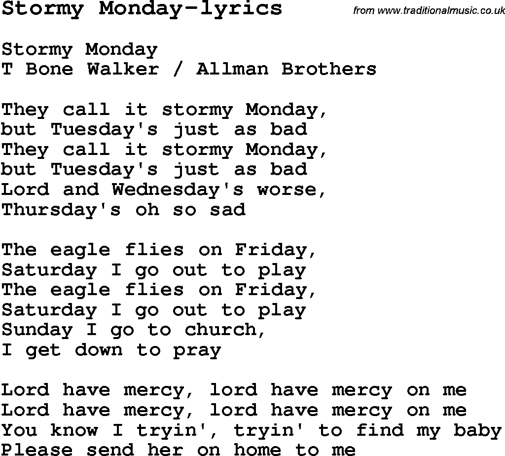 Blues Guitar lesson for Stormy Monday lyrics, with Chords, Tabs ...
