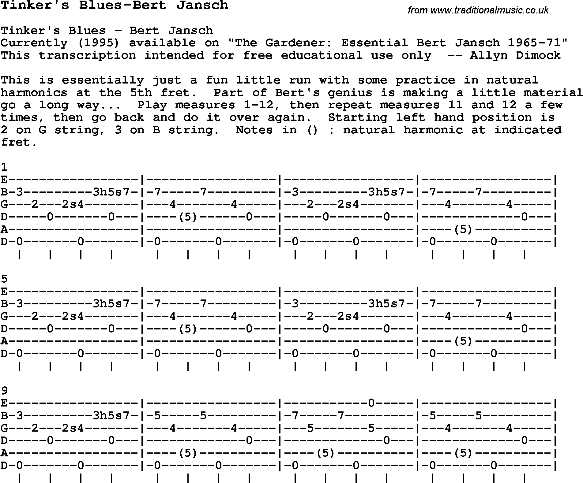 Blues Guitar Song Lyrics Chords Tablature Playing Hints For Tinkers