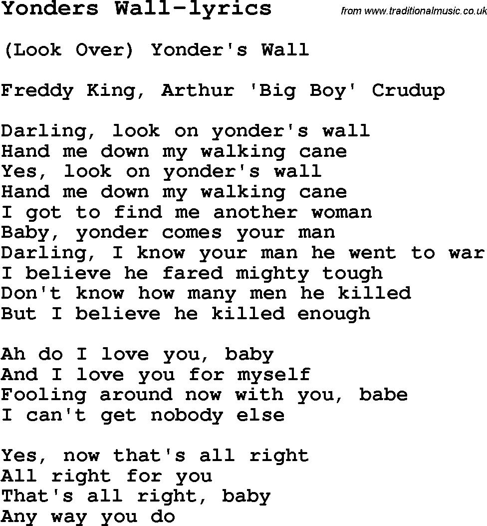 Blues Guitar Lesson For Yonders Wall Lyrics With Chords Tabs And
