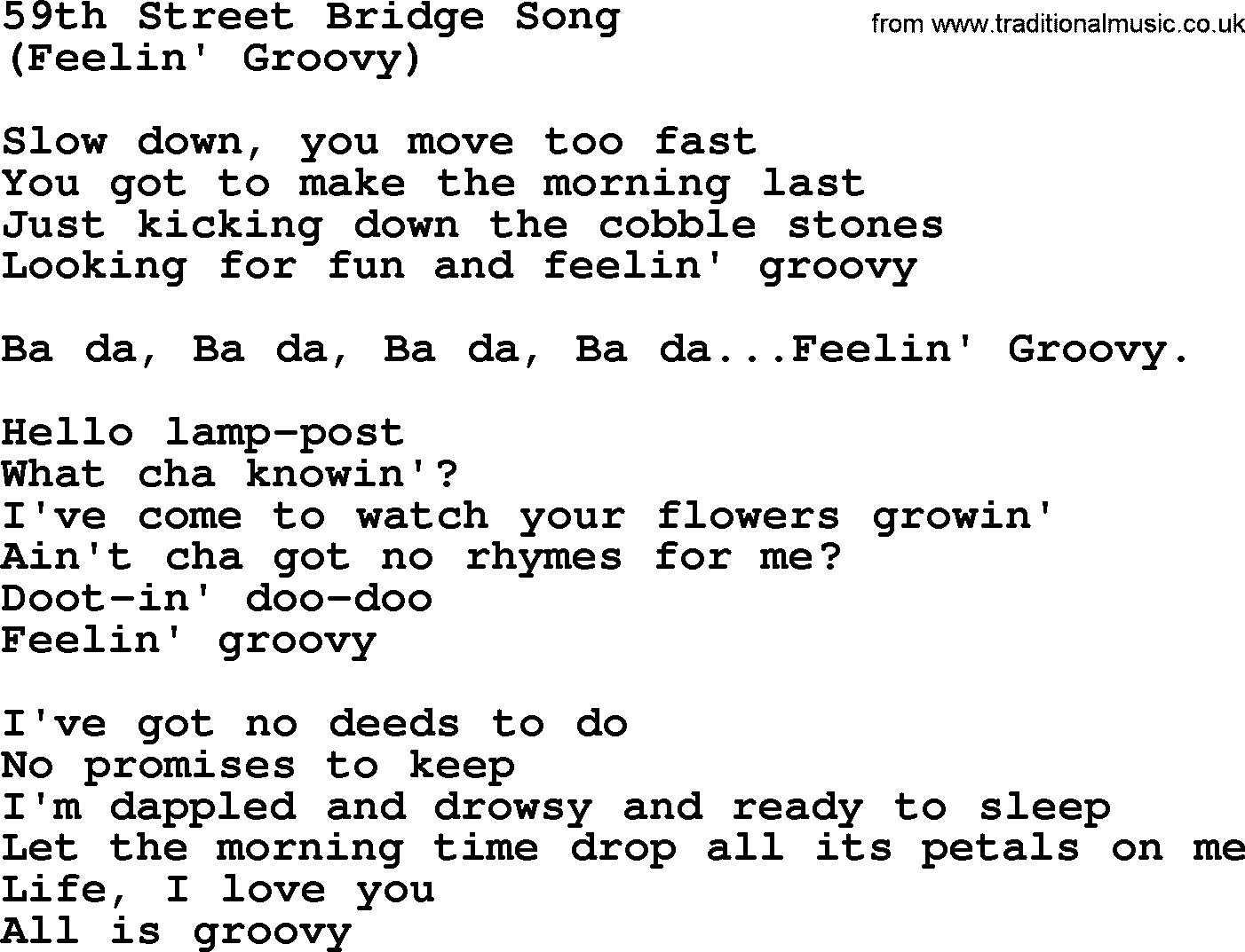 59th street bridge song by the byrds lyrics with pdf the byrds song 59th street bridge song lyrics hexwebz Images