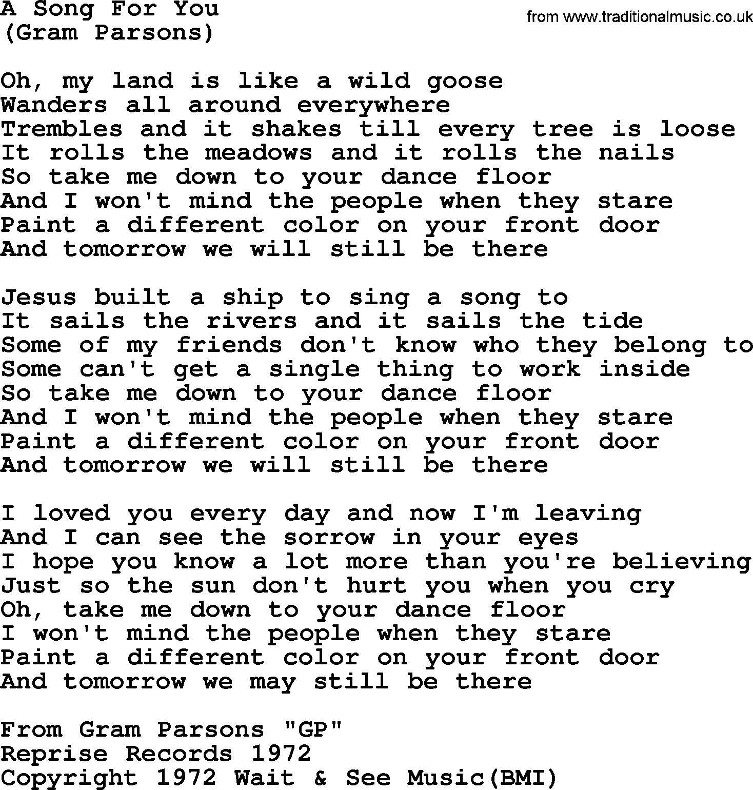 Sing a song for you lyrics