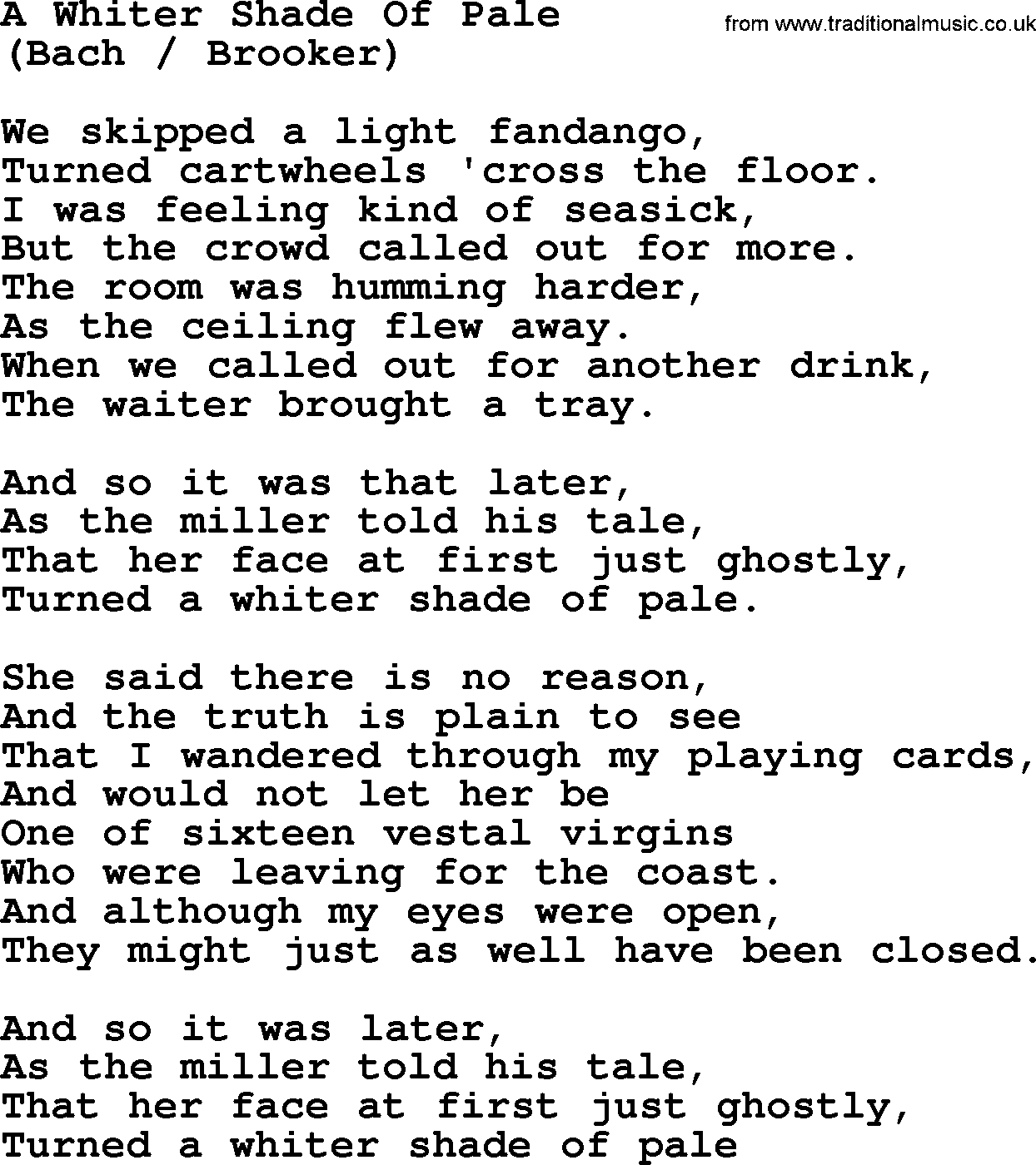 A Whiter Shade Of Pale By The Byrds Lyrics With Pdf