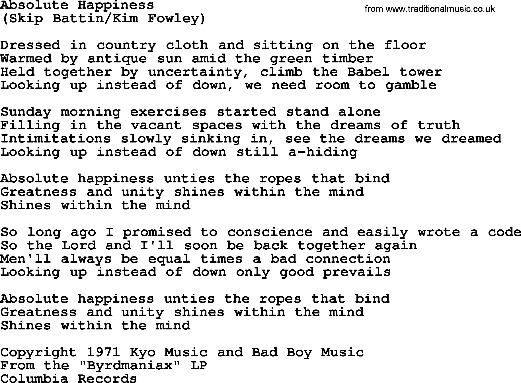 Absolute Happiness By The Byrds Lyrics With Pdf
