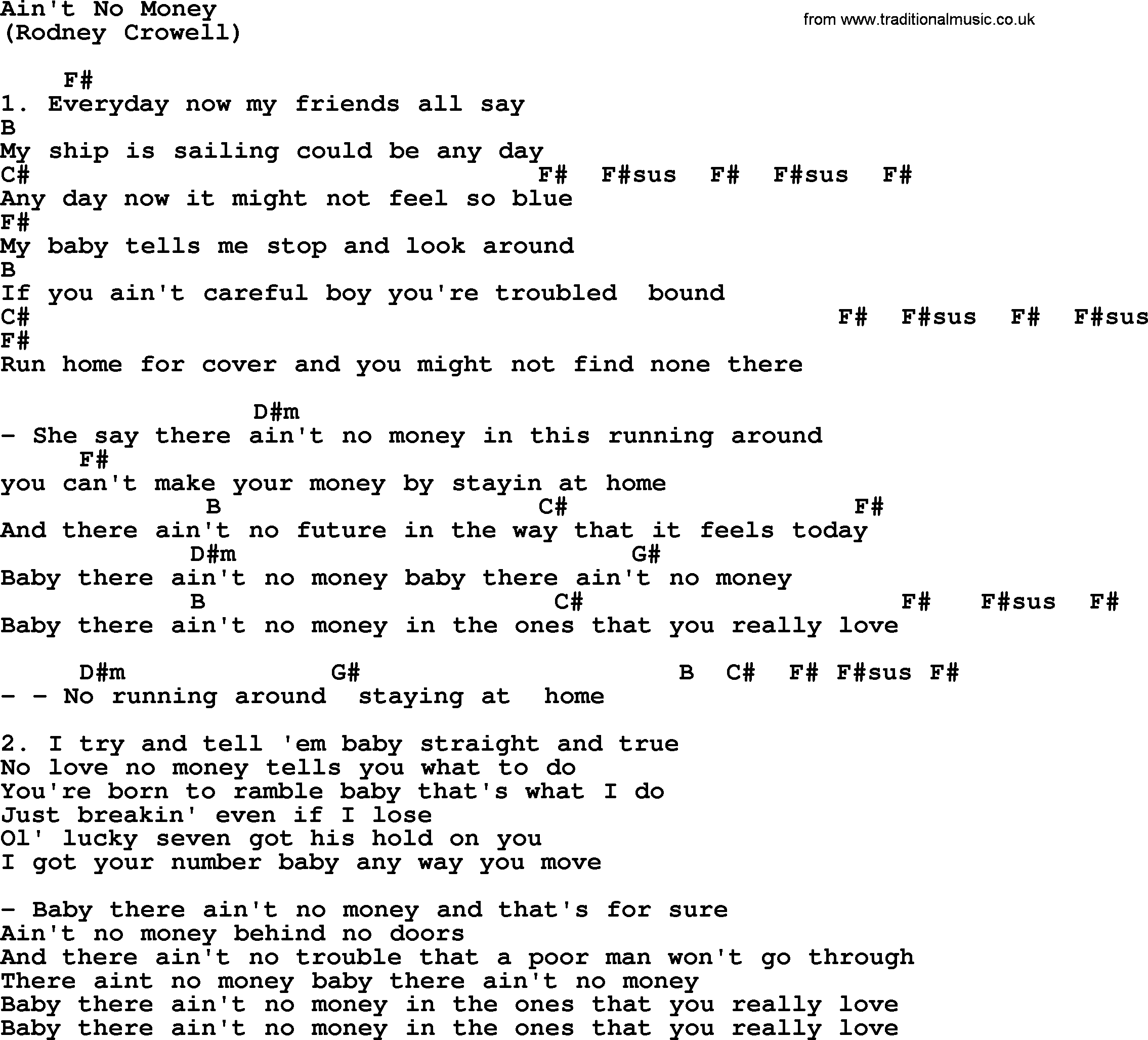 Aint No Money By The Byrds Lyrics And Chords