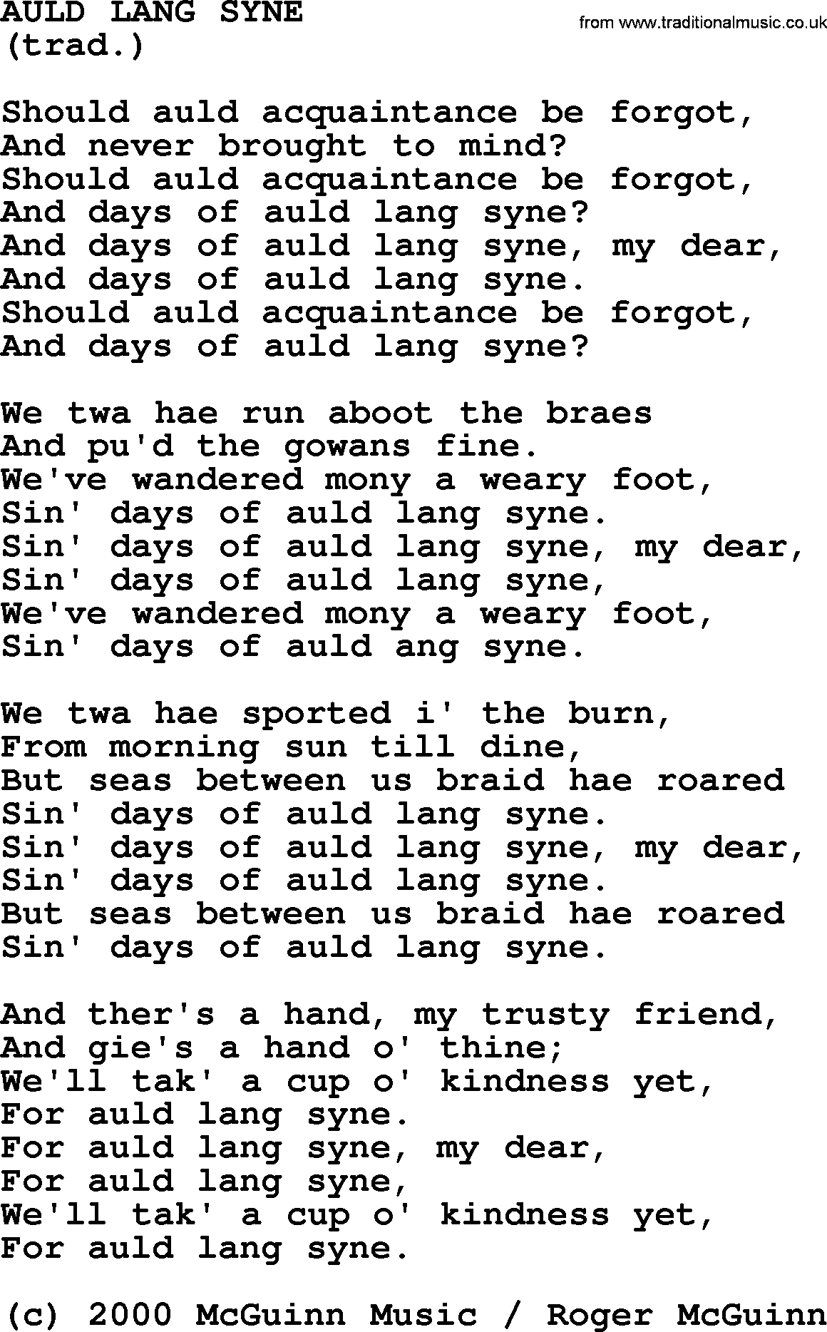 Guitar Tab, Chords and Lyrics for Auld Lang Syne - ThoughtCo