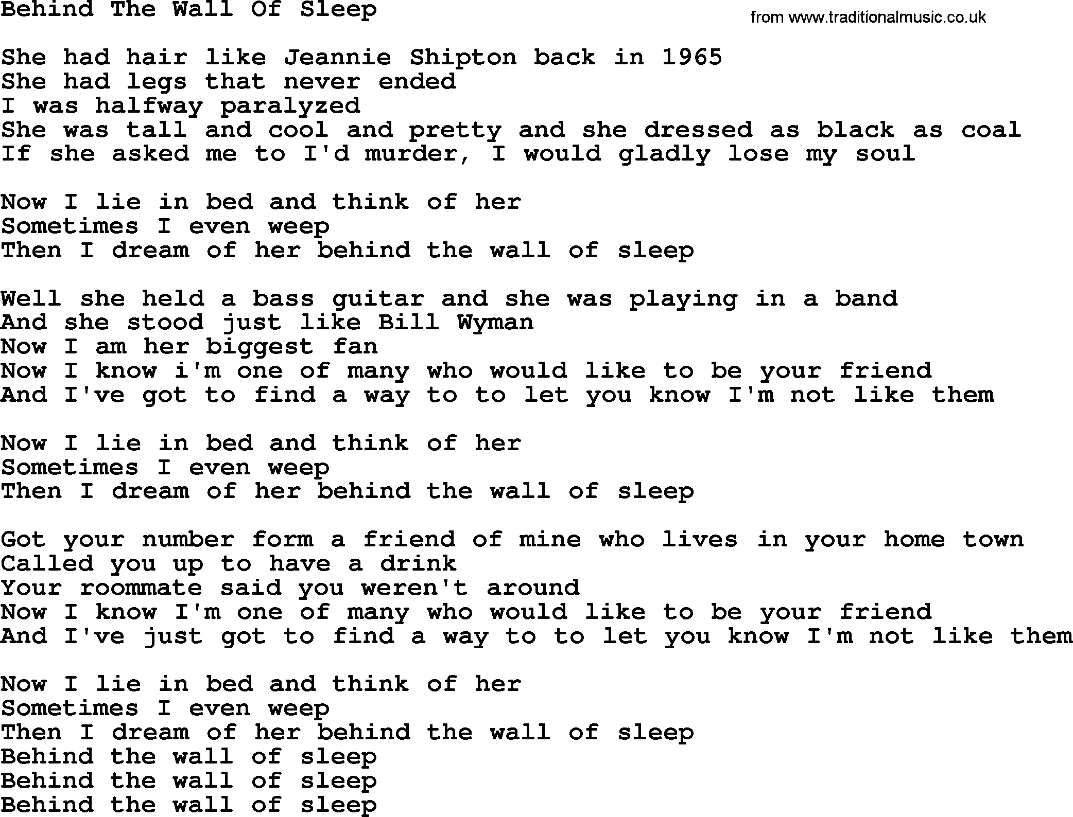 Behind The Wall Of Sleep By The Byrds Lyrics With Pdf