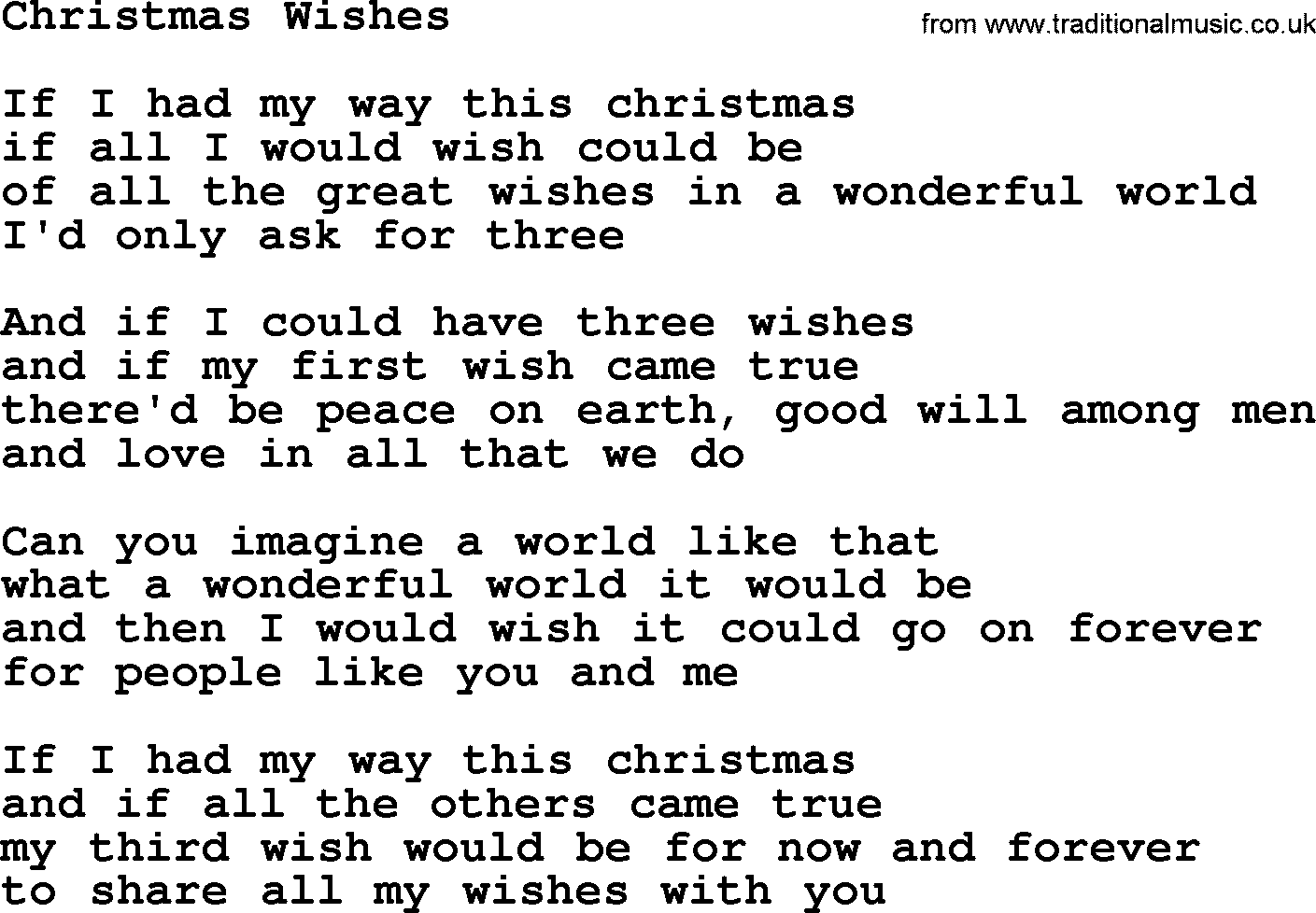 Christmas wishes by the byrds lyrics with pdf the byrds song christmas wishes lyrics m4hsunfo