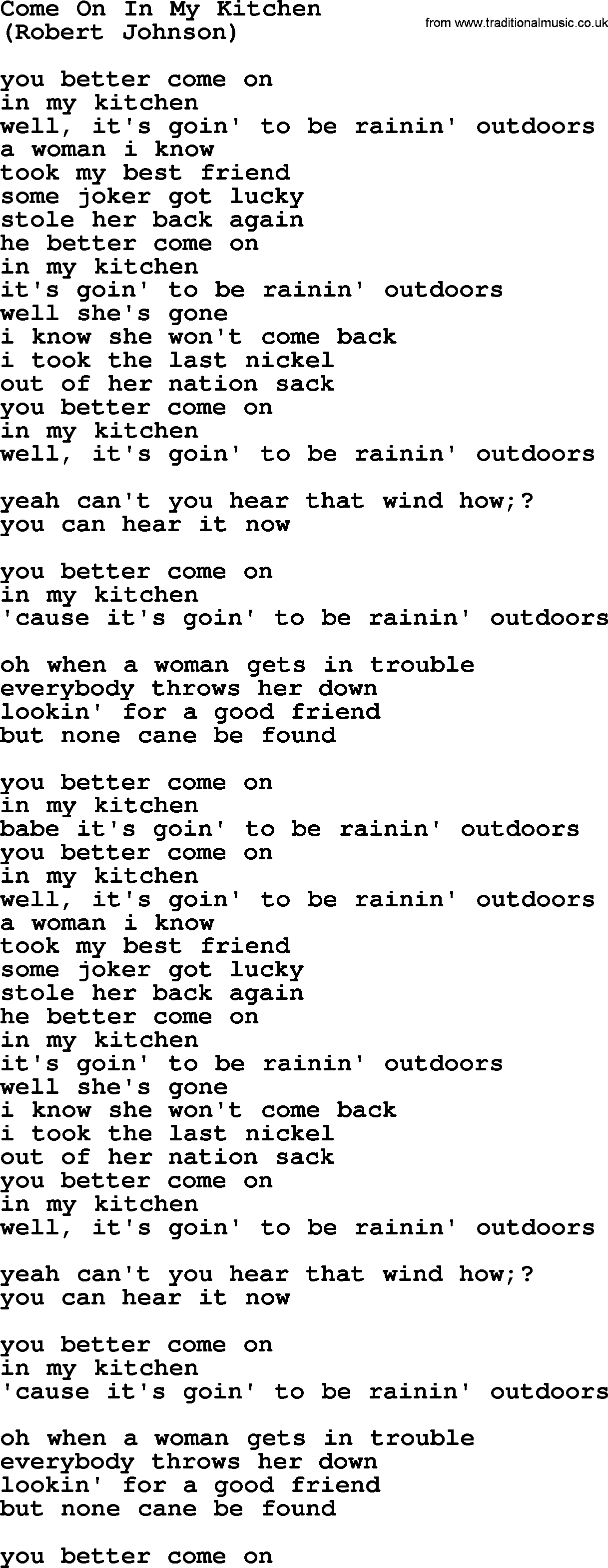 Come On In My Kitchen, by The Byrds - lyrics with pdf