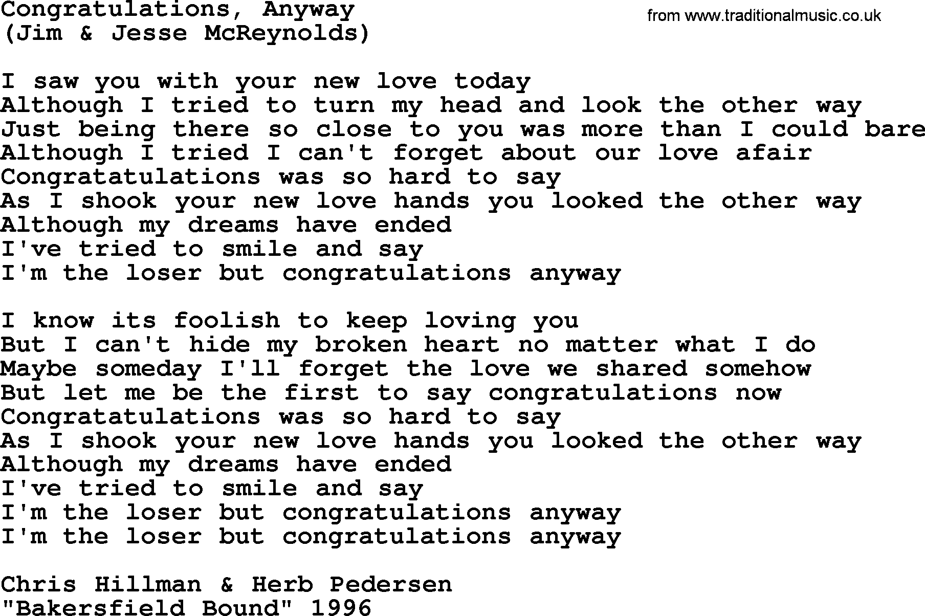 Congratulations Anyway By The Byrds Lyrics With Pdf
