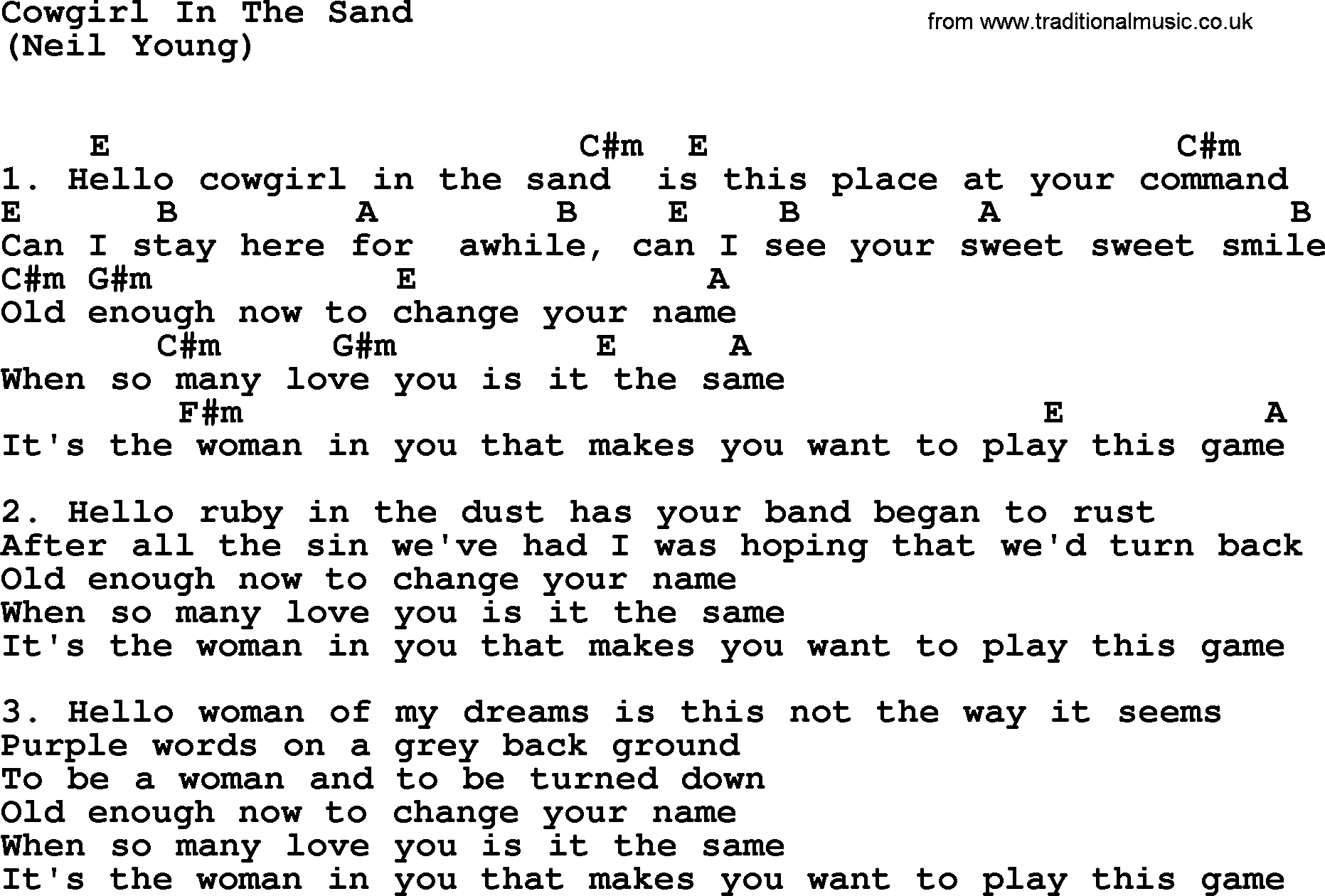 cowgirl in the sand lyrics