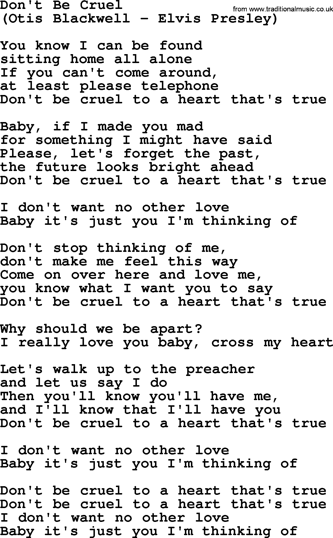 Don T Be Cruel By The Byrds Lyrics With Pdf