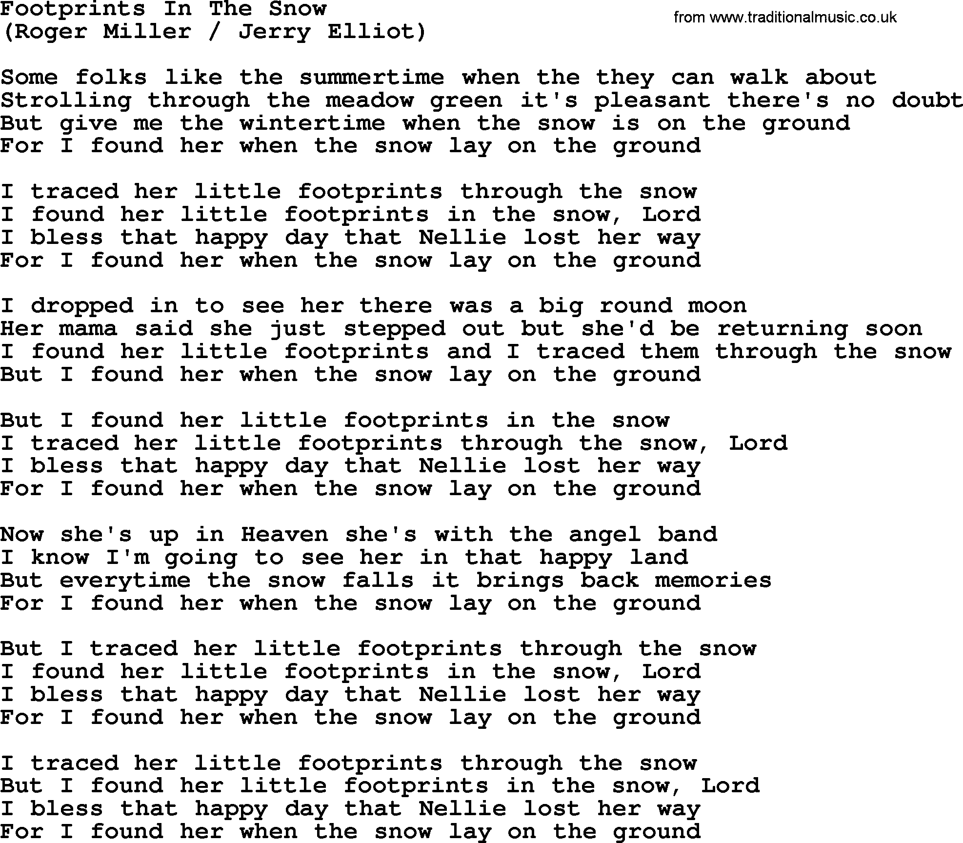 Footprints In The Snow By The Byrds Lyrics With Pdf