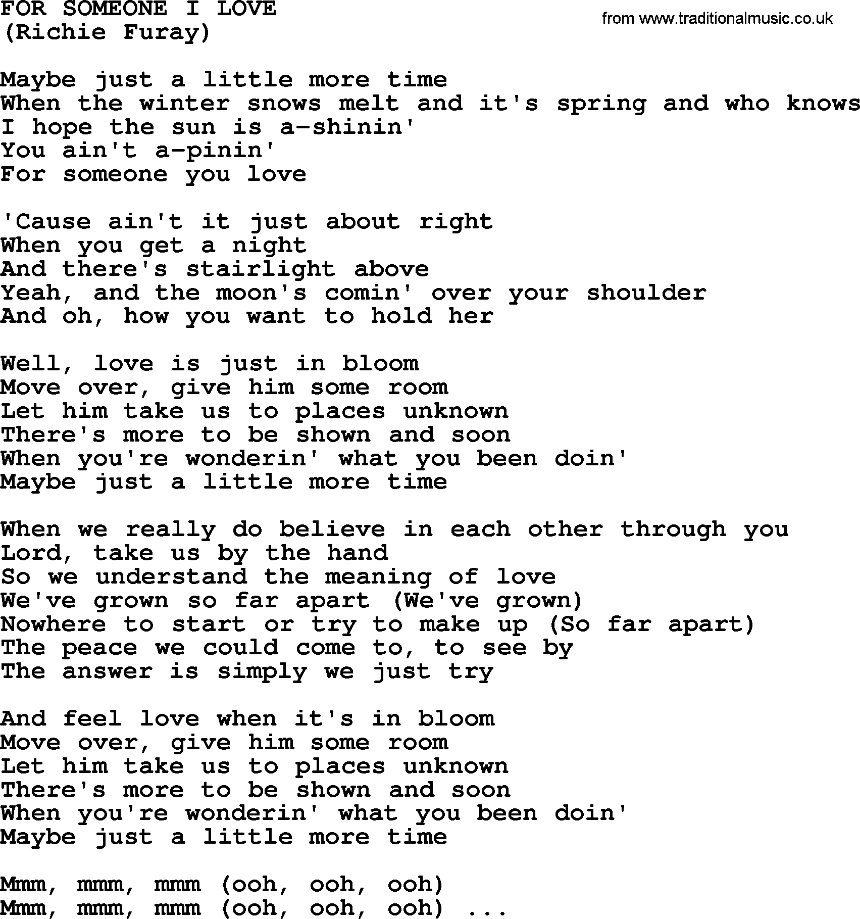 For Someone I Love, by The Byrds - lyrics with pdf