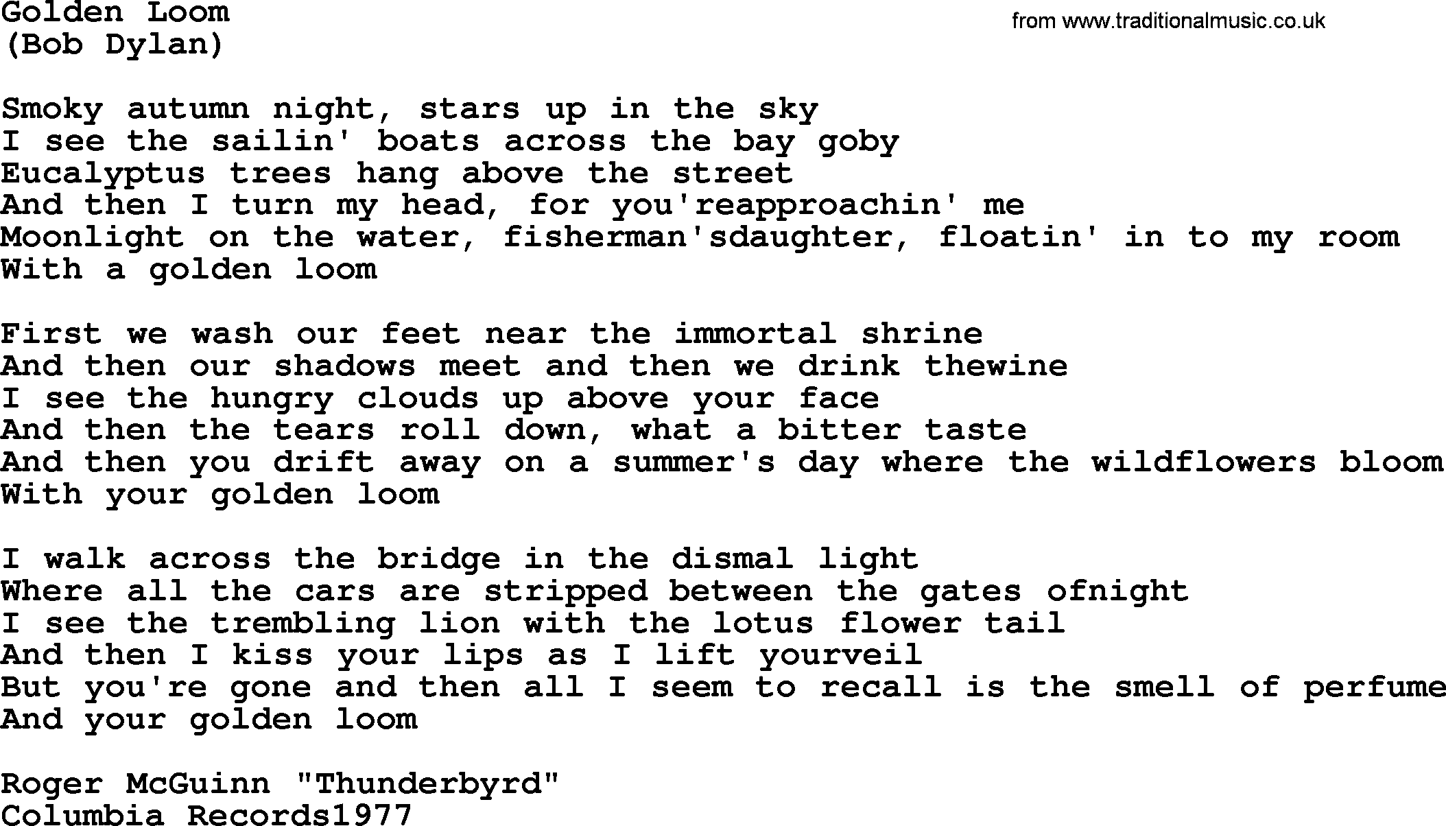Golden Loom By The Byrds Lyrics With Pdf