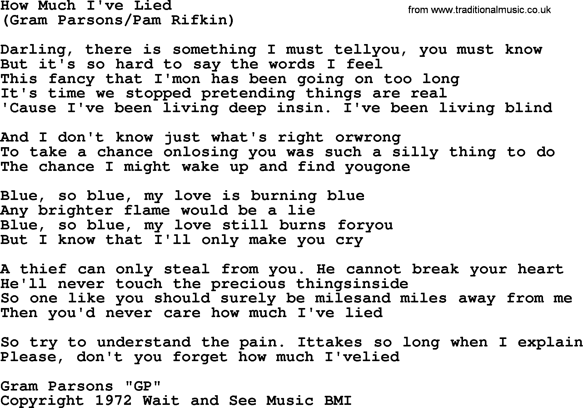 How Much Ive Lied By The Byrds Lyrics With Pdf