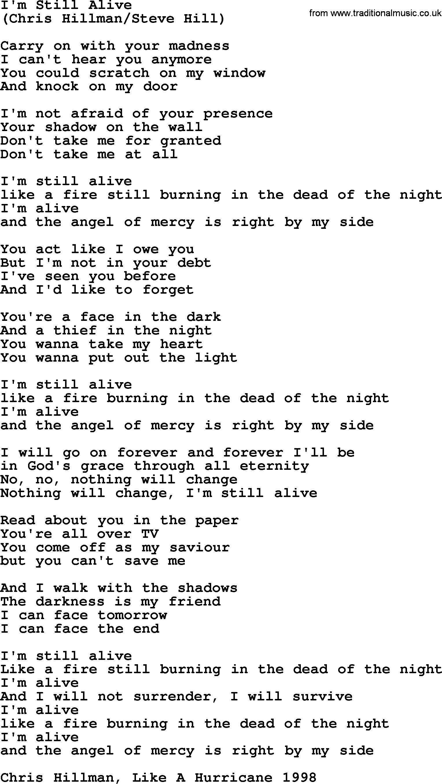 I'm Still Alive, by The Byrds - lyrics with pdf