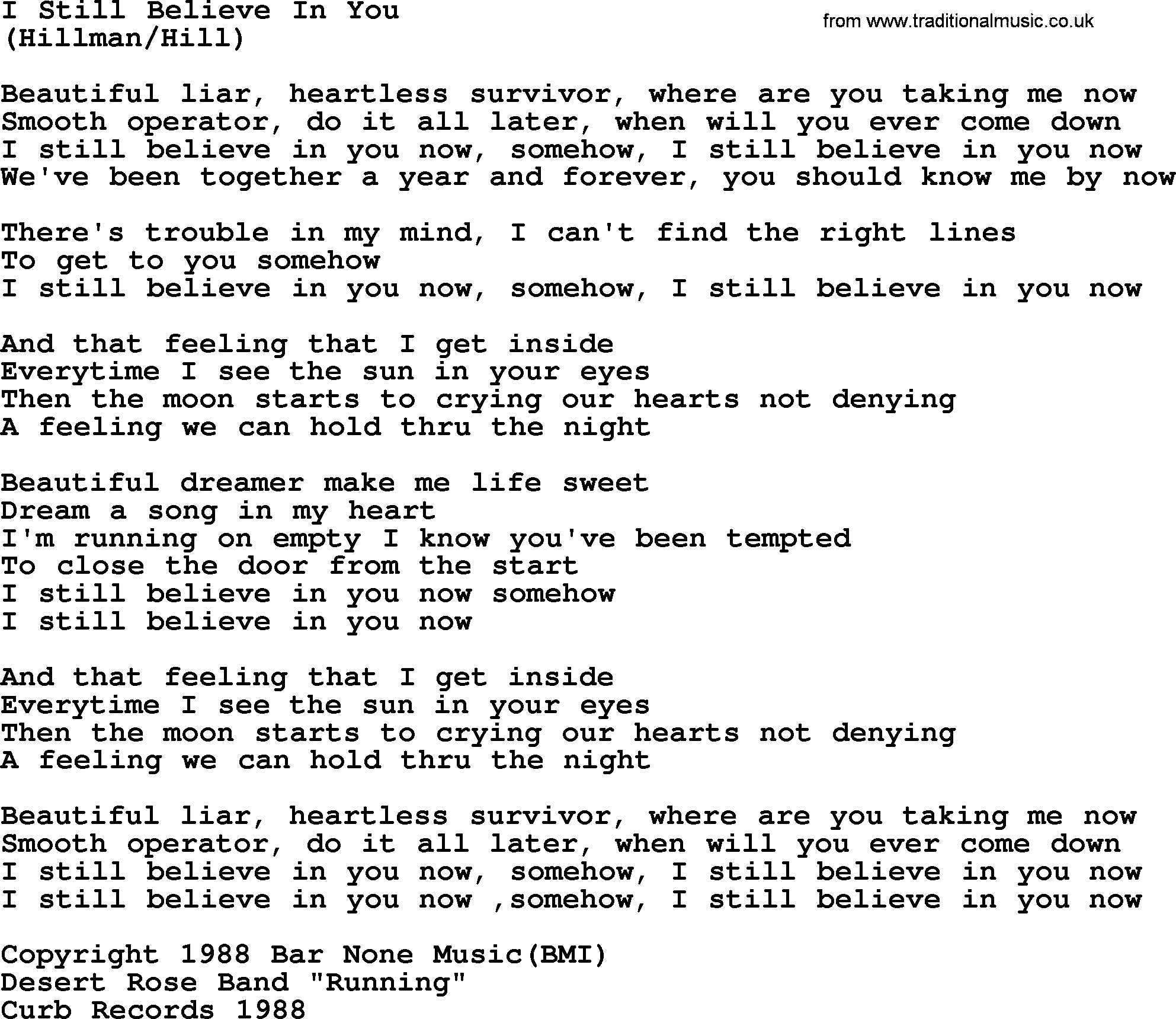 I Still Believe In You By The Byrds Lyrics With Pdf