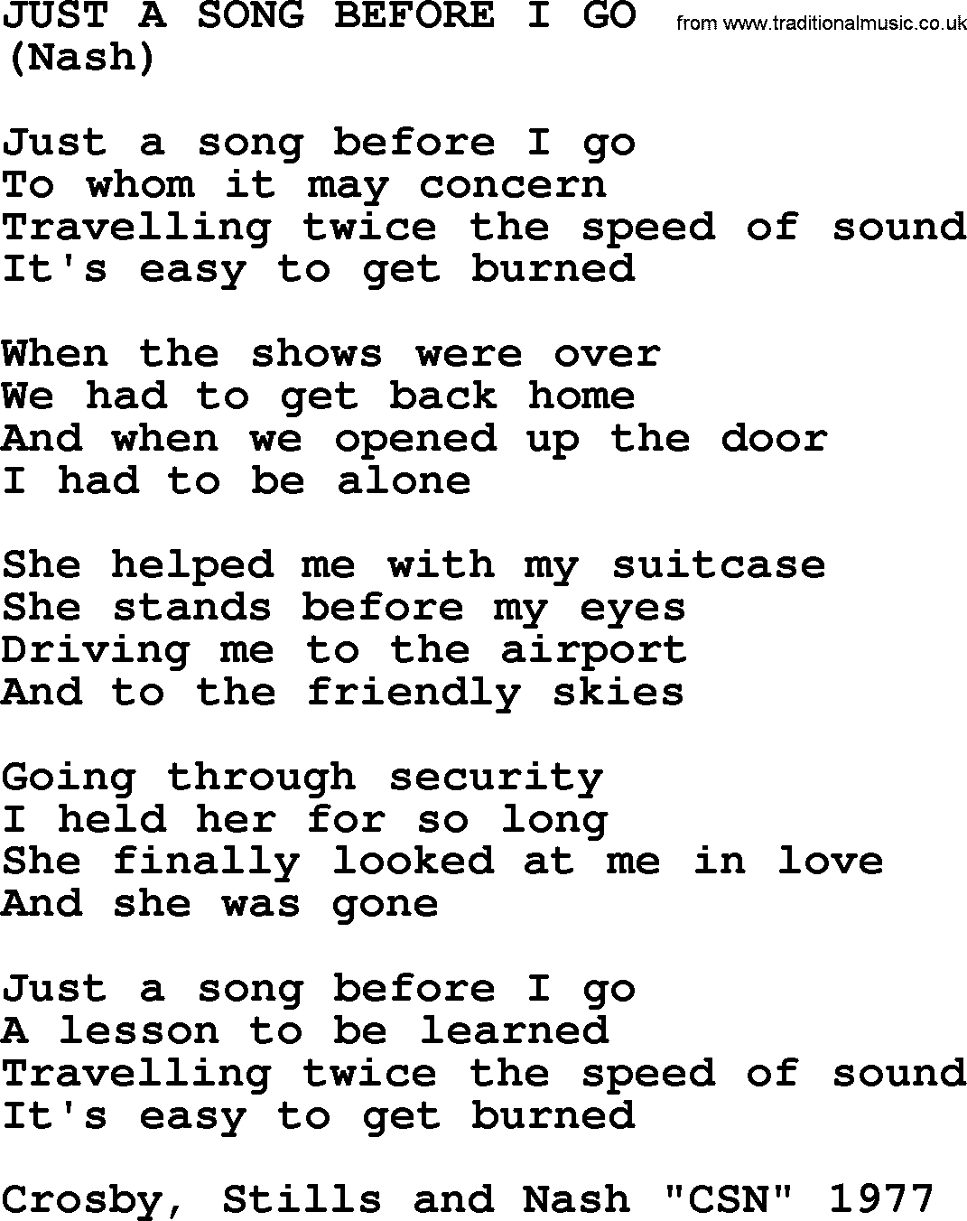 Just A Song Before I Go, by The Byrds   lyrics with pdf