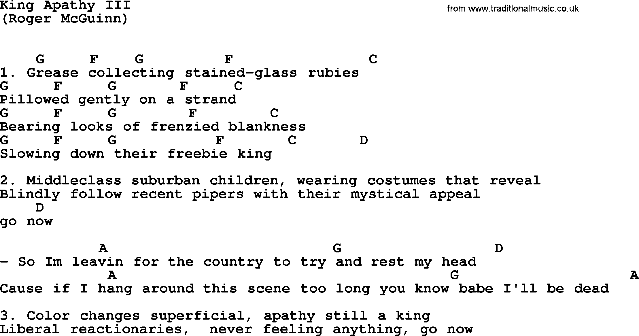 King Apathy Iii By The Byrds Lyrics And Chords