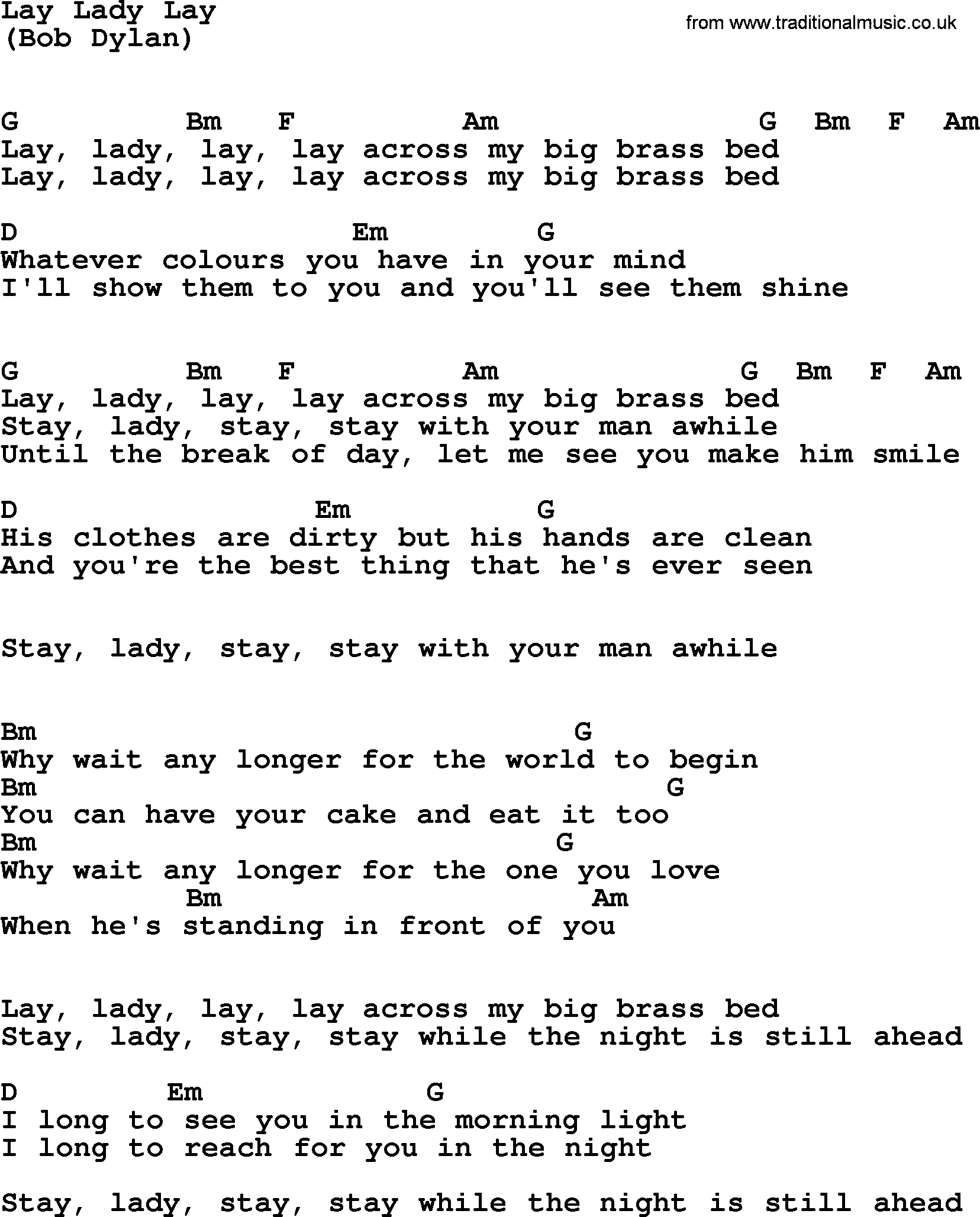 Lay Lady Lay, by The Byrds   lyrics and chords