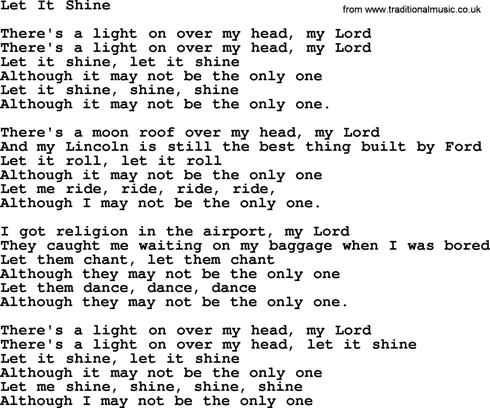 Let It Shine, by The Byrds - lyrics with pdf