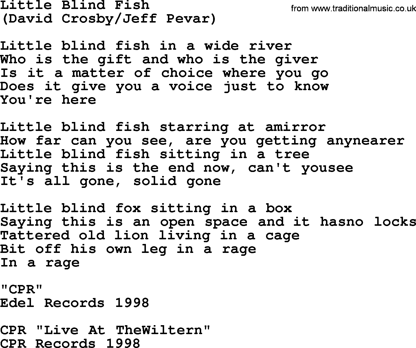 Little blind fish by the byrds lyrics with pdf for Little fish song