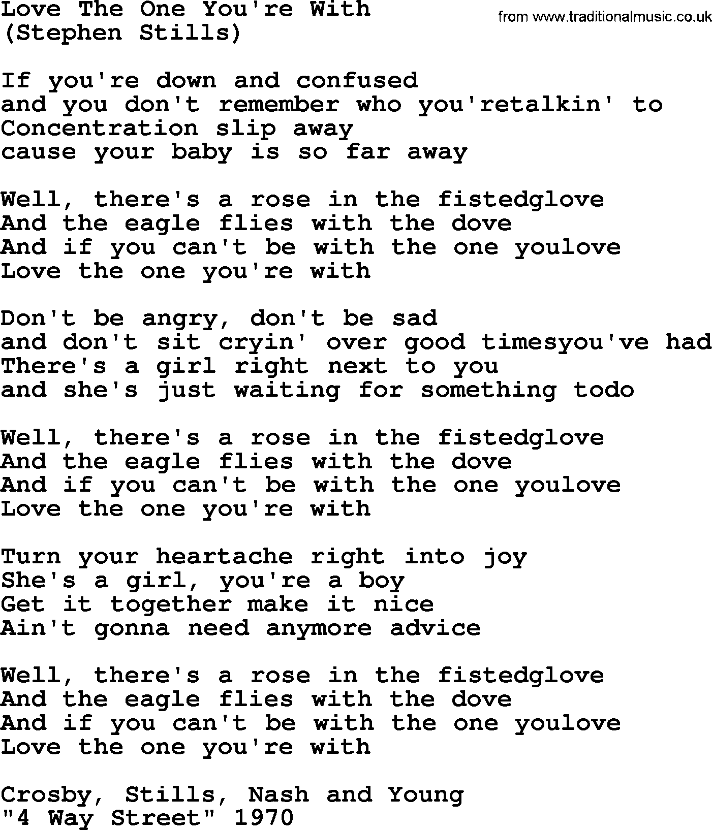 Love The One Youre With By The Byrds Lyrics With Pdf