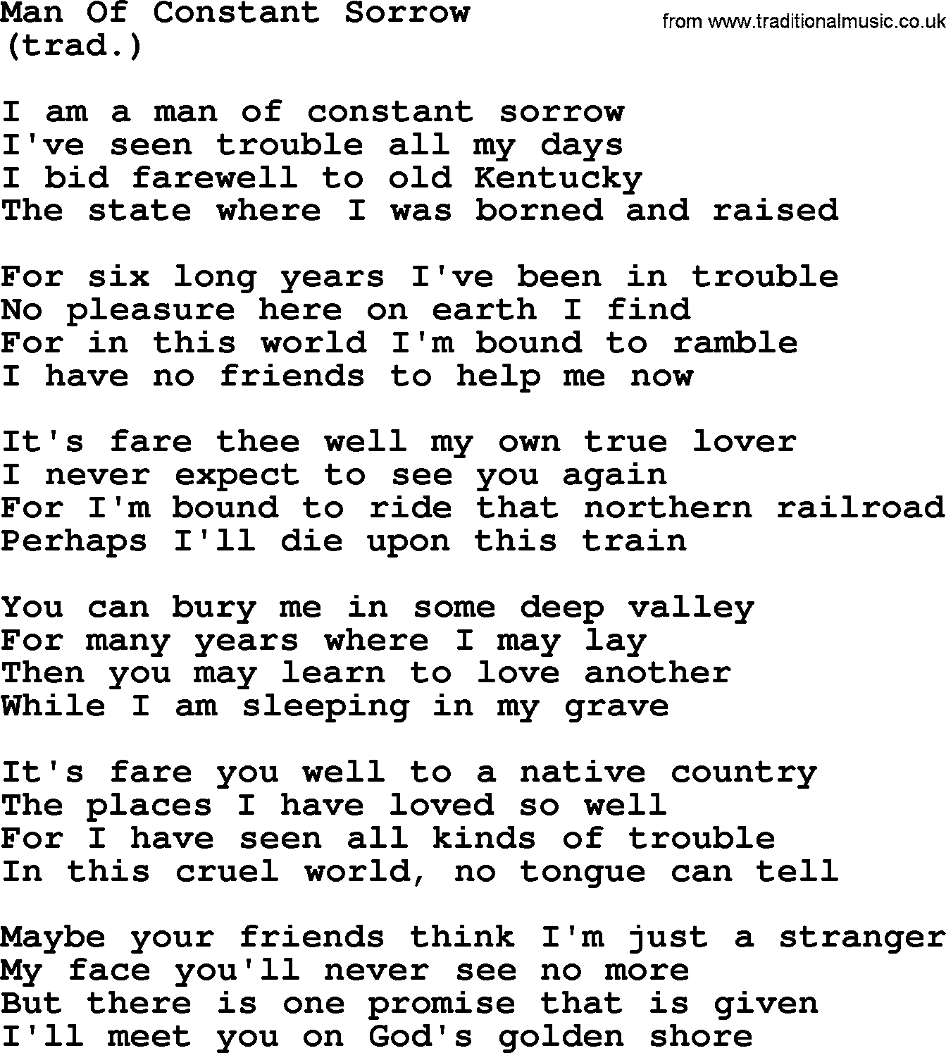 Man Of Constant Sorrow By The Byrds Lyrics With Pdf