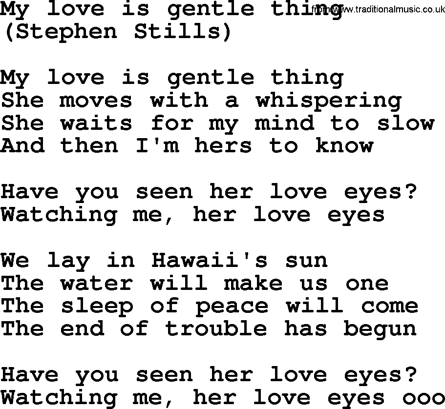 My Love Is Gentle Thing, by The Byrds - lyrics with pdf