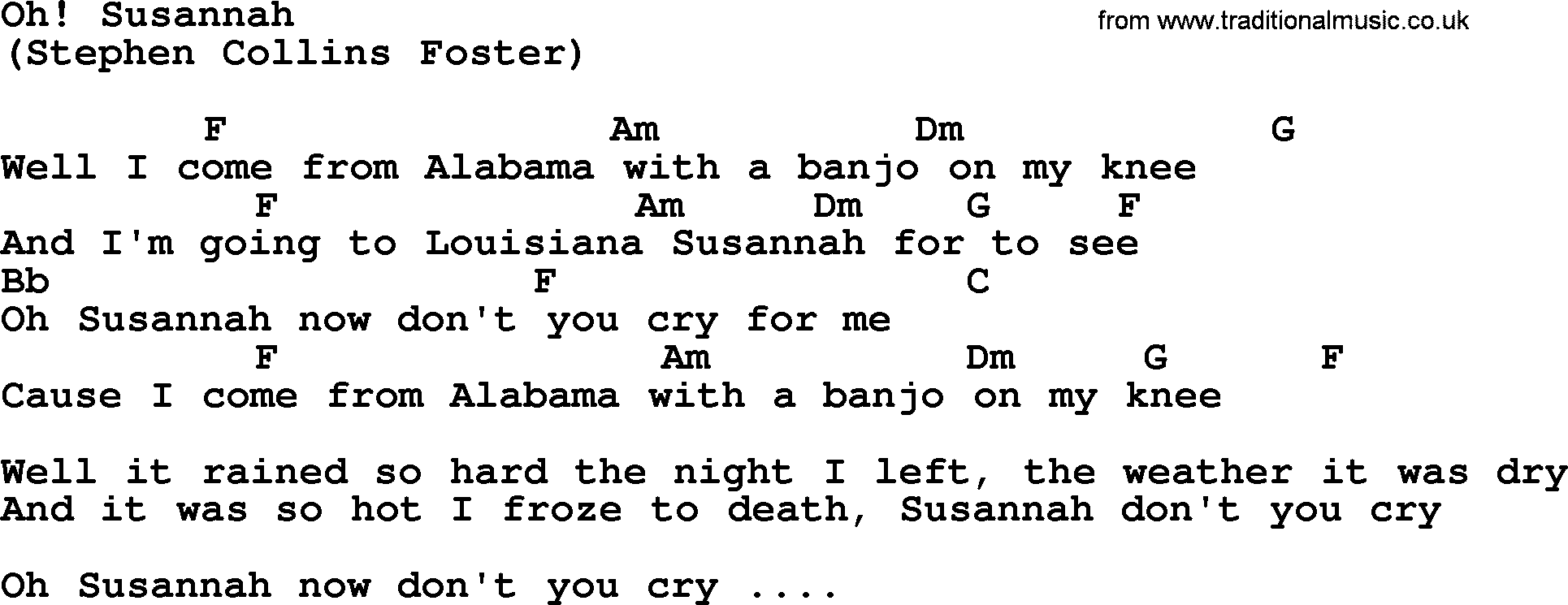 Oh Susannah By The Byrds Lyrics And Chords