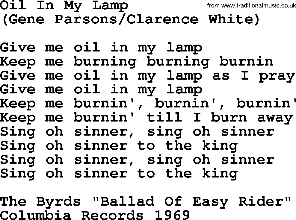 The Byrds Song Oil In My Lamp, Lyrics