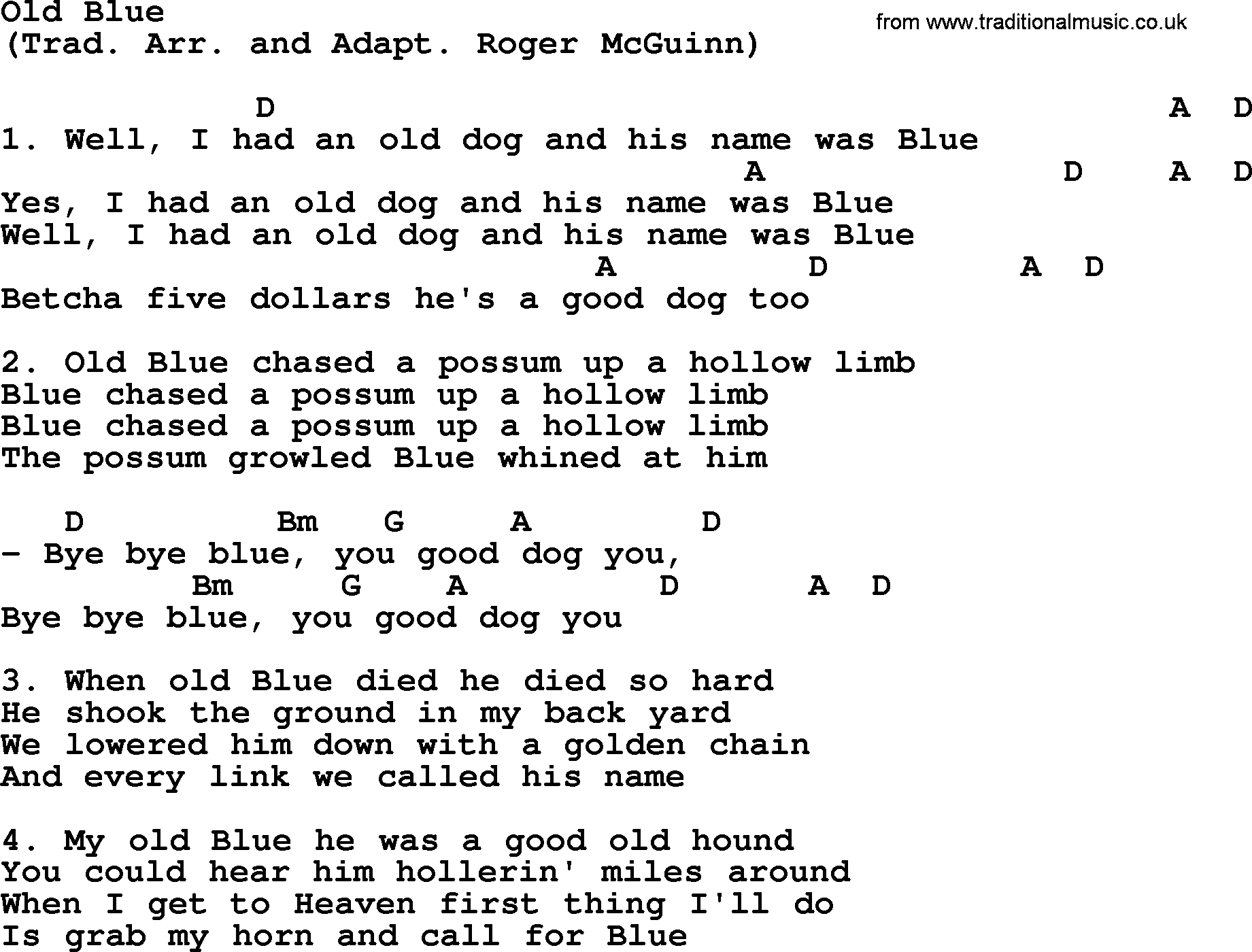 Old Blue By The Byrds Lyrics And Chords