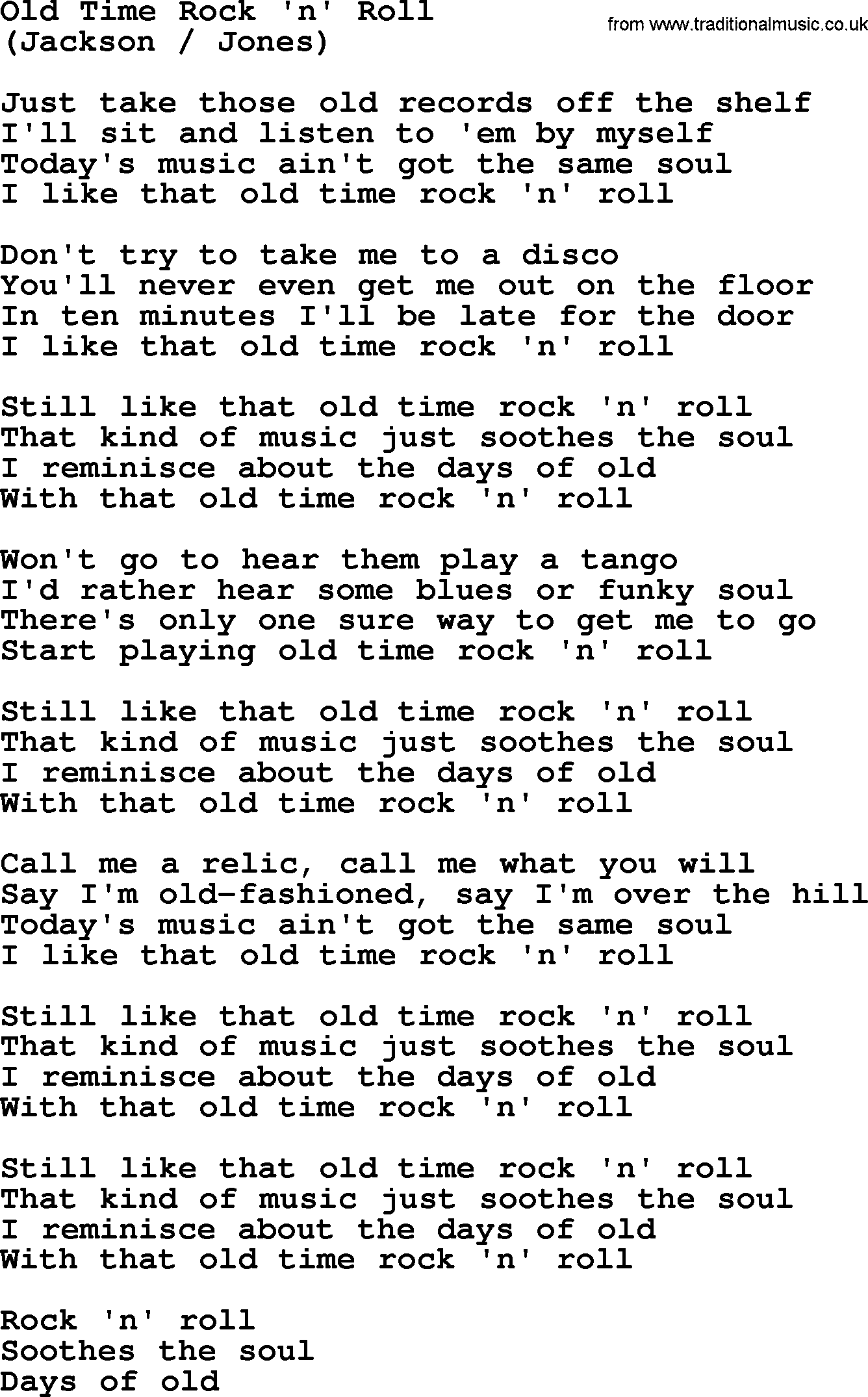 Old Time Rock 'n' Roll, by The Byrds - lyrics with pdf