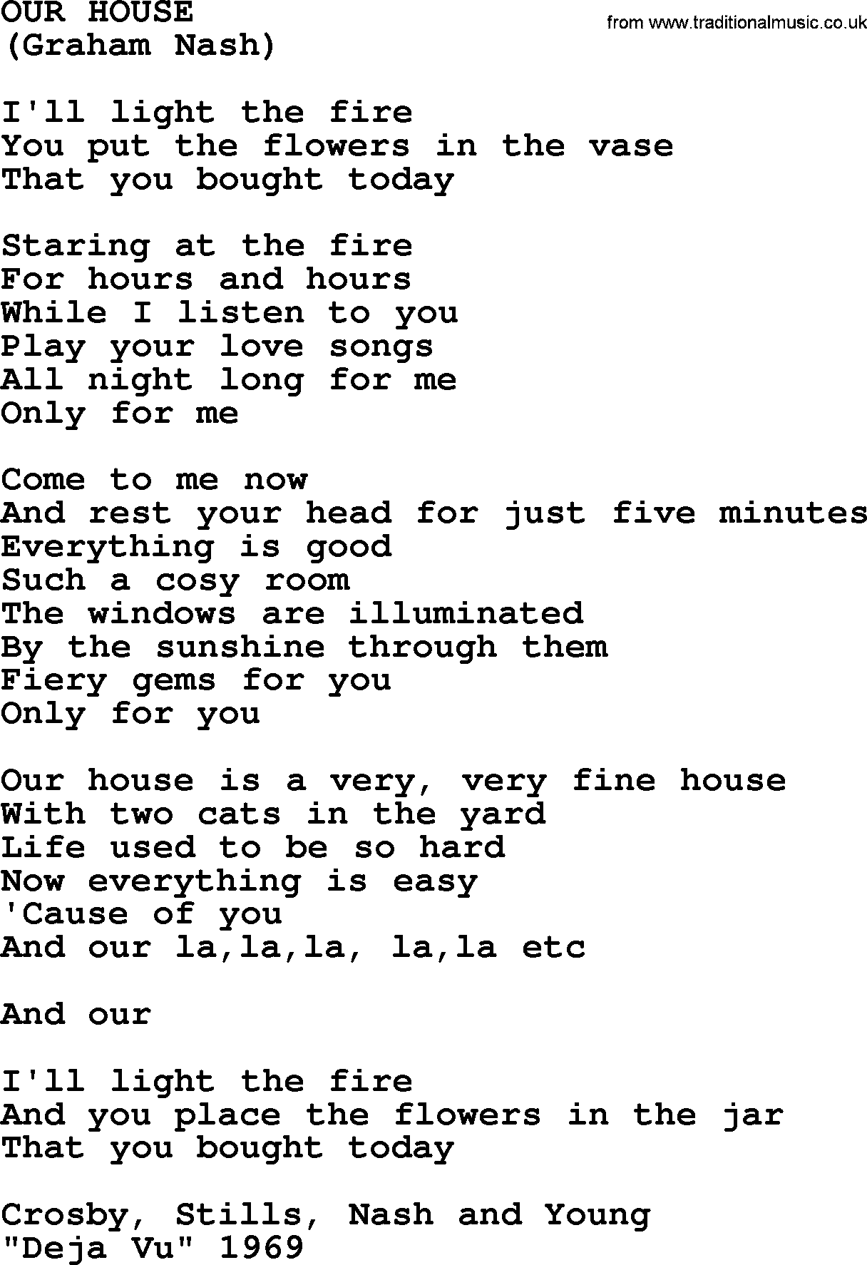 Our House by The Byrds lyrics with pdf