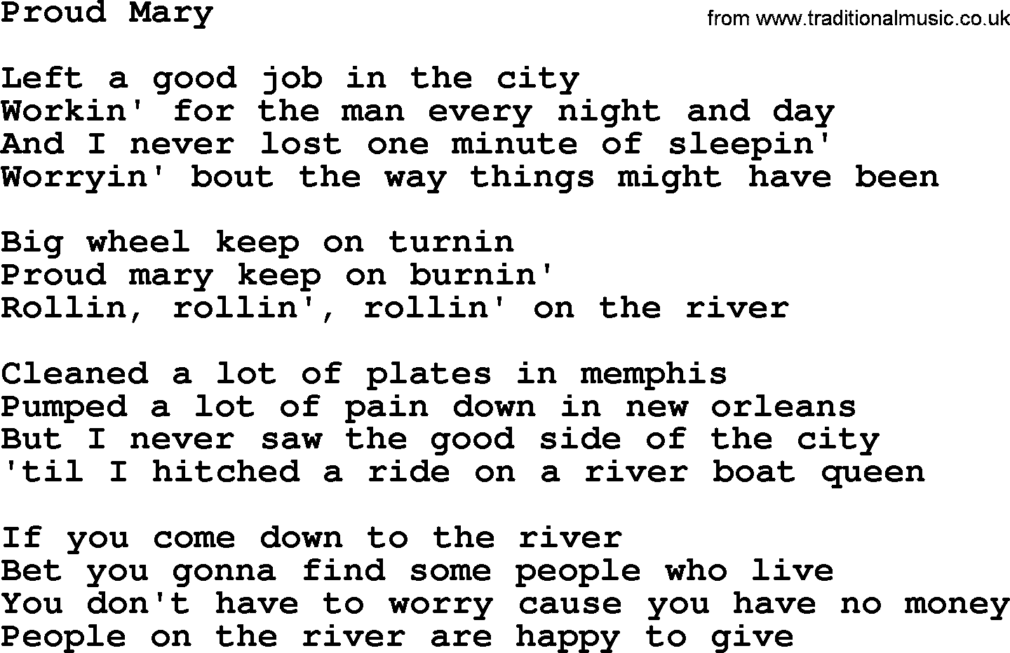 Proud Mary By The Byrds Lyrics With Pdf