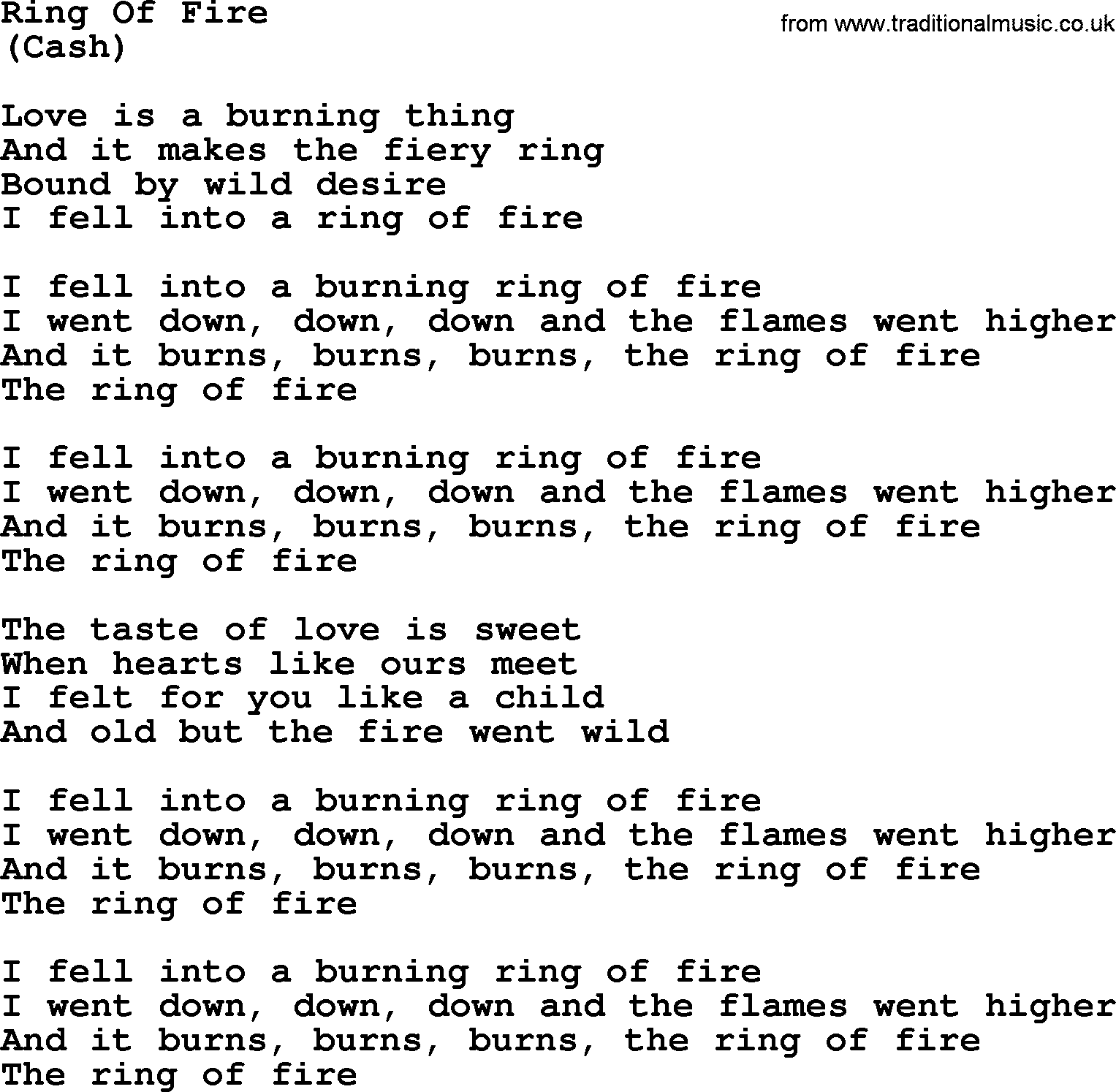 Ring Of Fire Song Lyrics