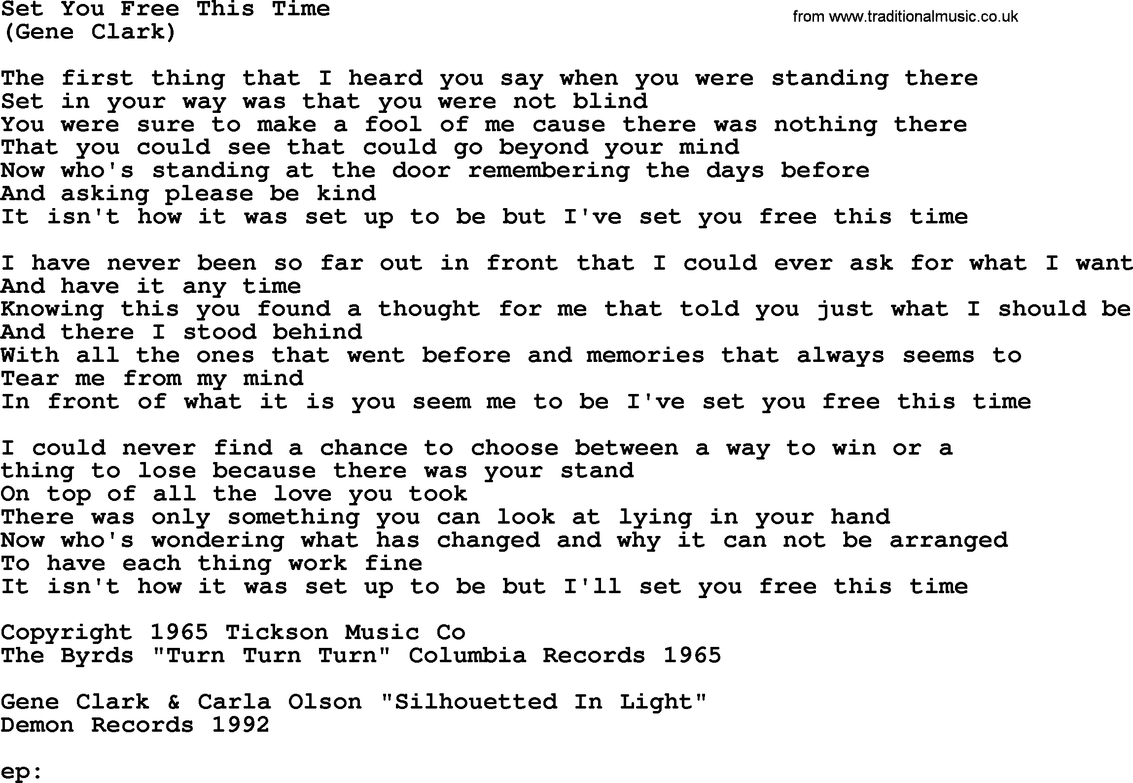 Set You Free This Time By The Byrds Lyrics With Pdf