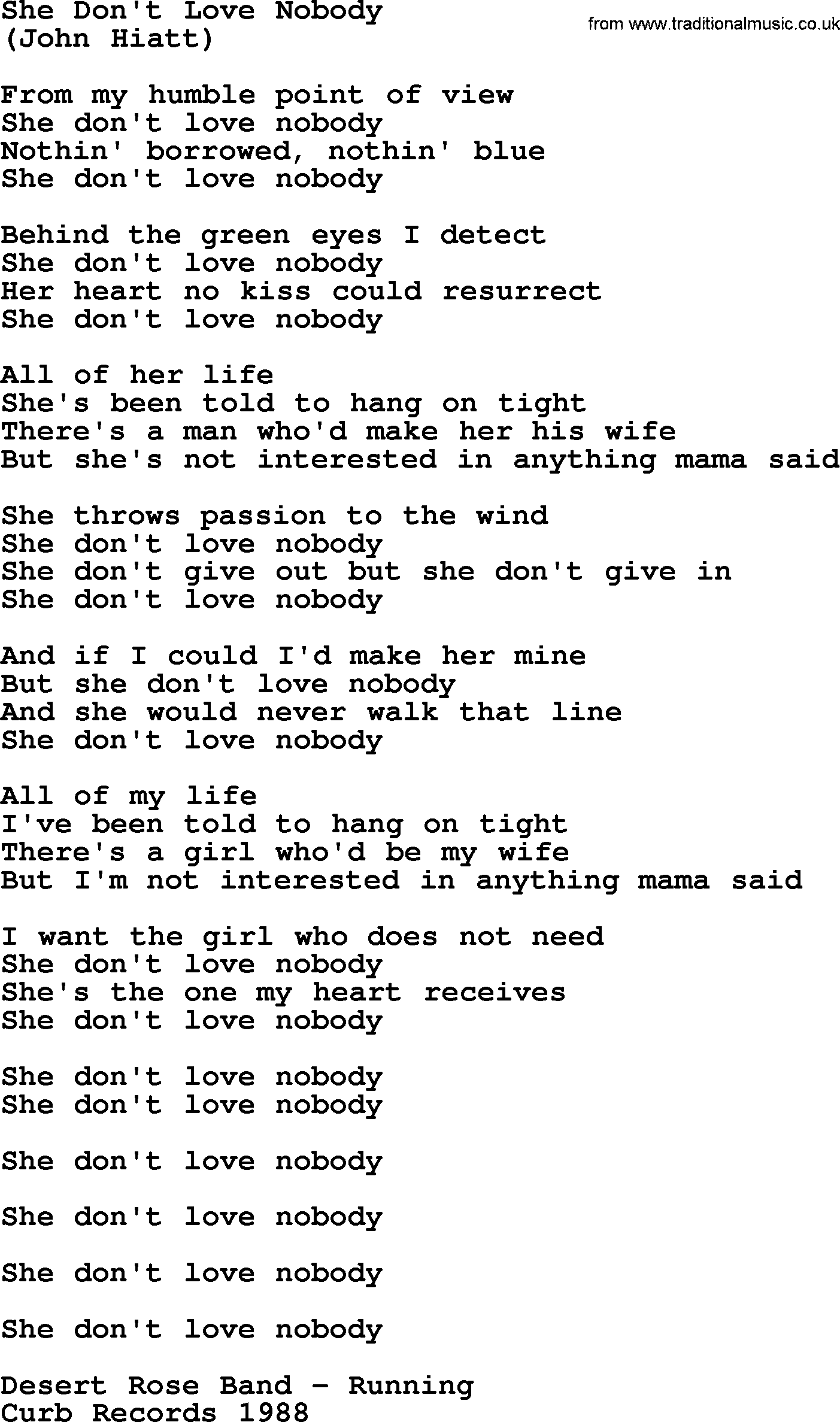 She Don T Love Nobody By The Byrds Lyrics With Pdf The song touches on themes of alienation and. traditional music library