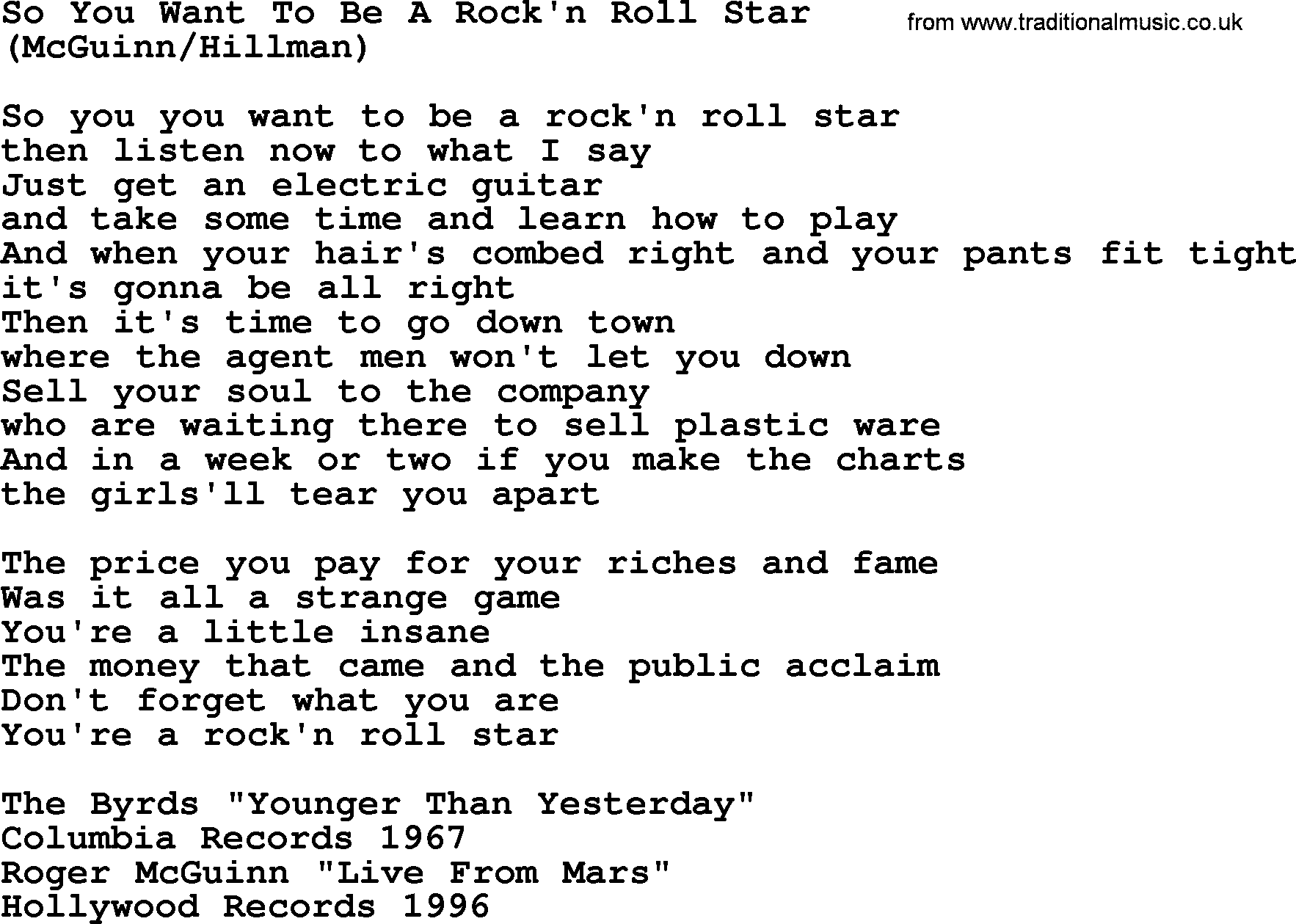 Time Song Lyrics With Chords For When The Roll Is: So You Want To Be A Rock'n Roll Star, By The Byrds