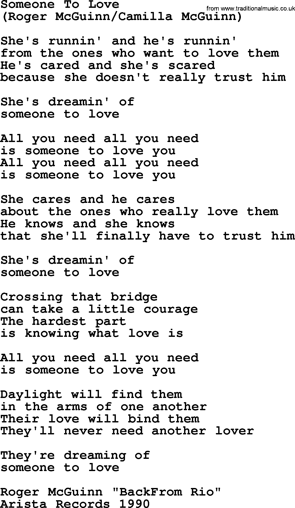 Someone To Love, by The Byrds - lyrics with pdf