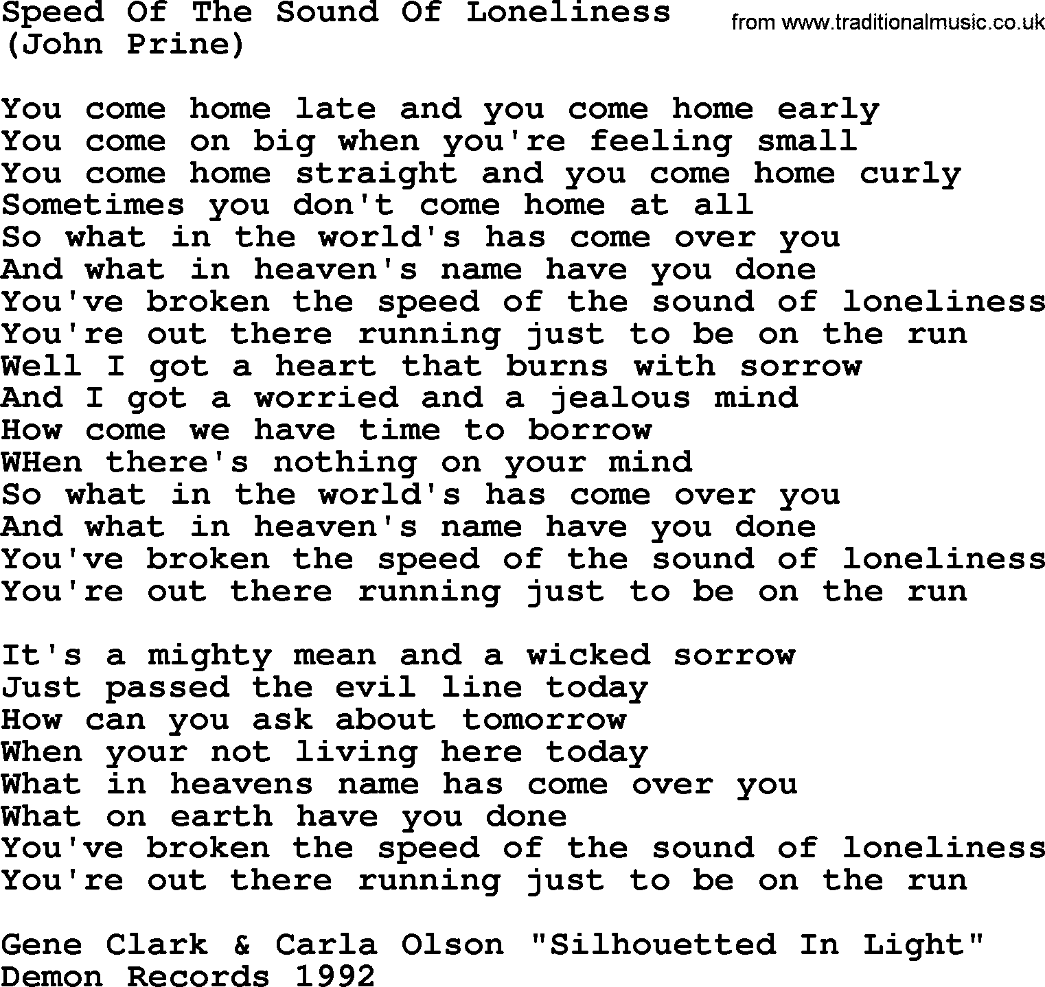 Speed Of The Sound Of Loneliness, by The Byrds - lyrics with pdf