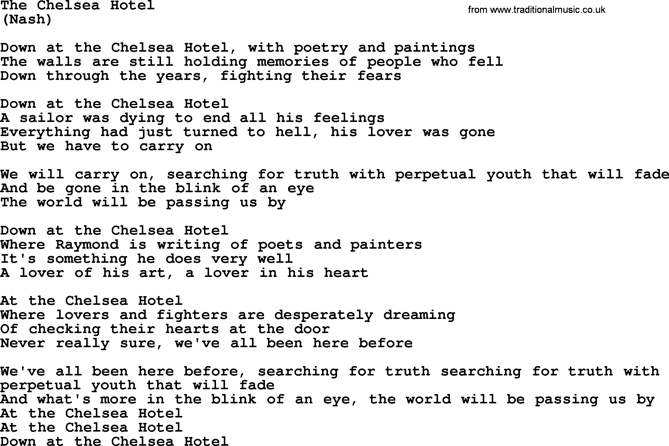 The Chelsea Hotel, by The Byrds - lyrics with pdf