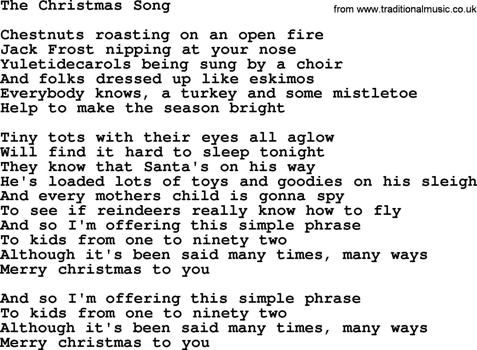 The Christmas Song, by The Byrds - lyrics with pdf