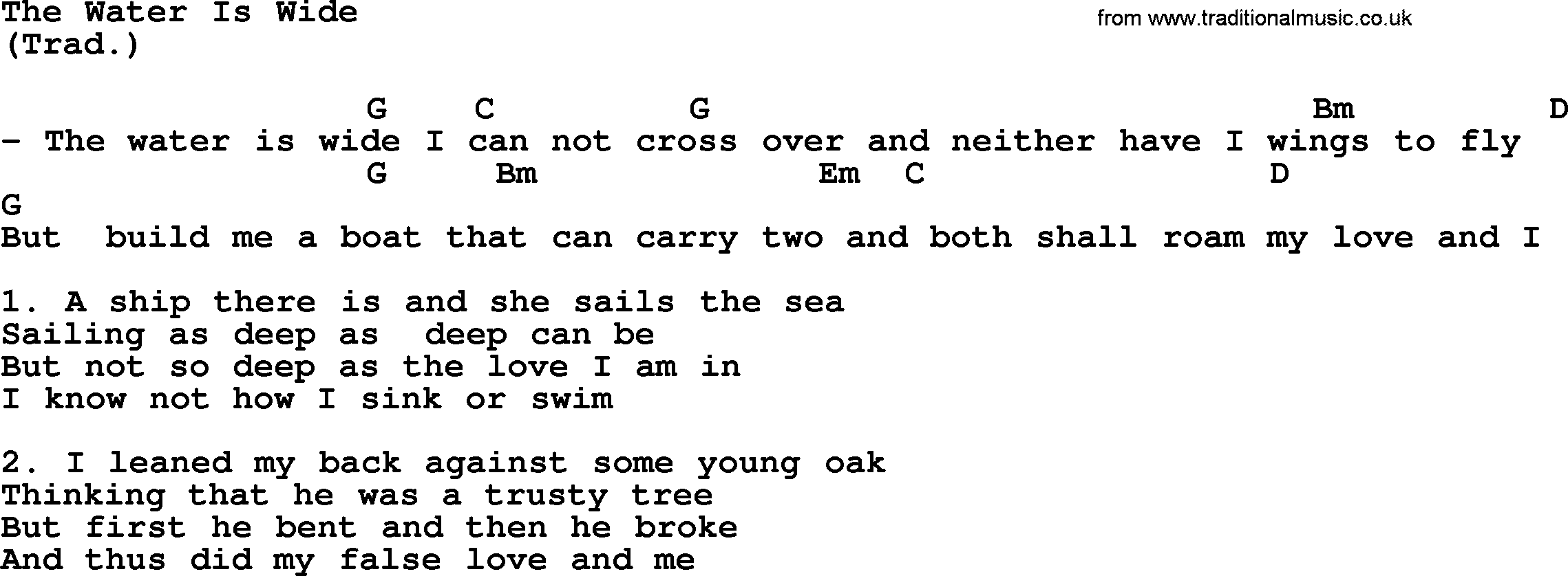 The Water Is Wide By The Byrds Lyrics And Chords