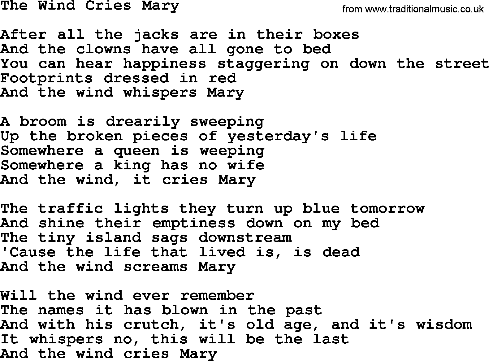 The Byrds Song Wind Cries Mary Lyrics