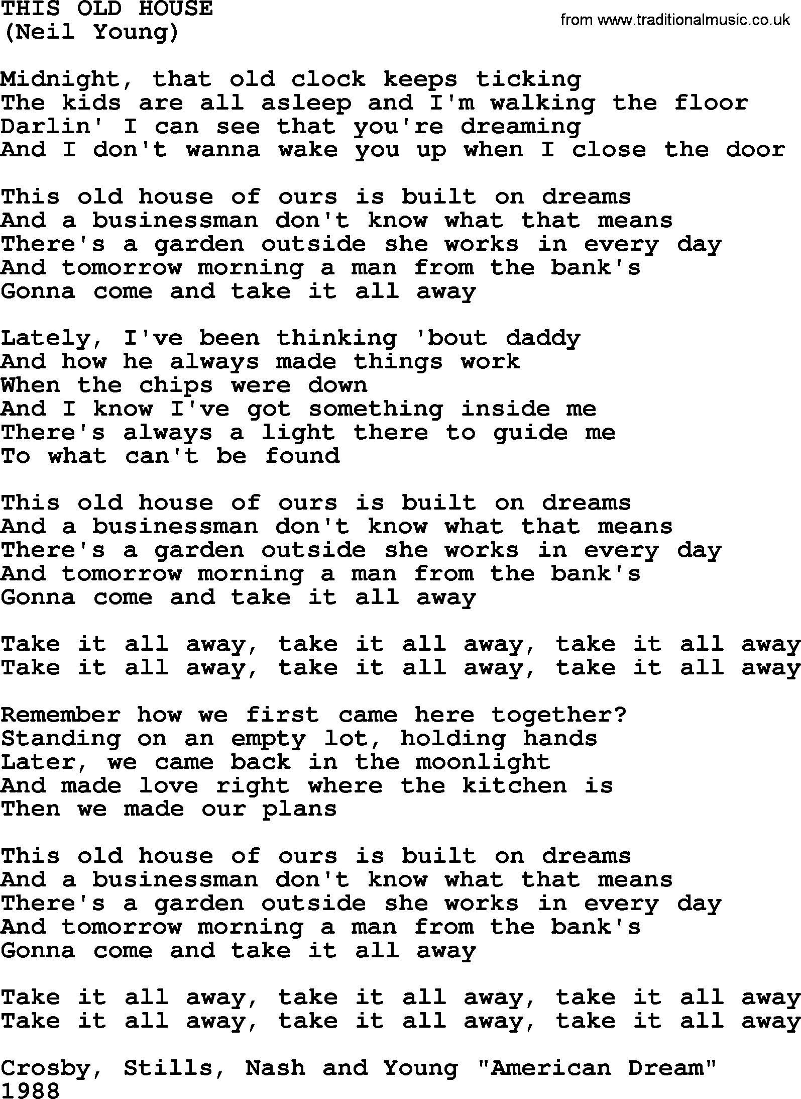 This Old House by The Byrds lyrics with pdf