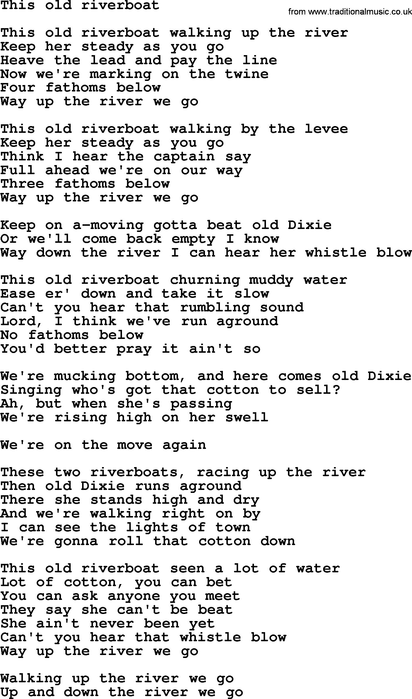 This Old Riverboat By The Byrds Lyrics With Pdf