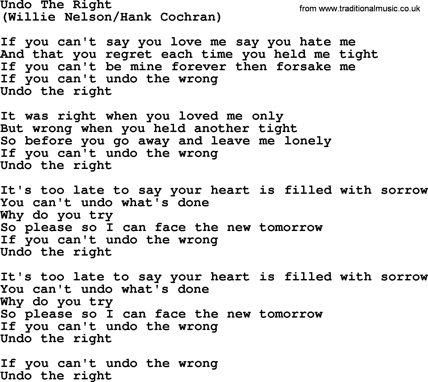 Undo The Right By The Byrds Lyrics With Pdf